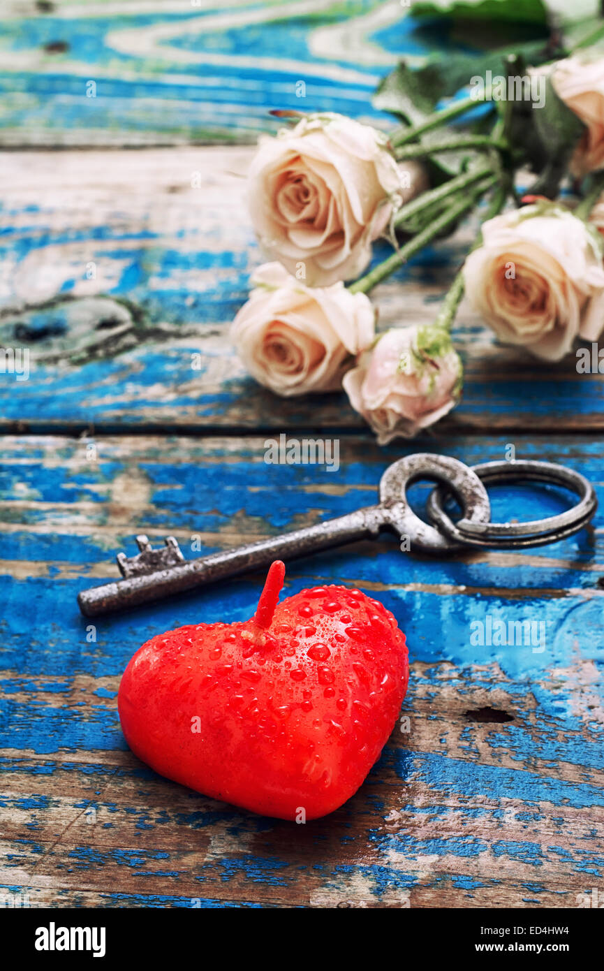 Candle Heart Symbol Of Lovekey And Rose Buds Stock Photo 76933840