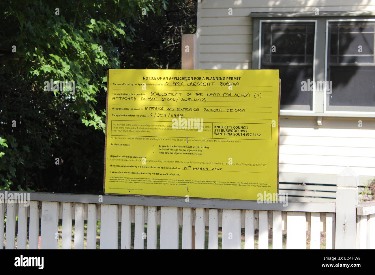 Knox Council (dreaded) 'Yellow Sign' showing application to develop 10 Park Crescent, Boronia. - Stock Image