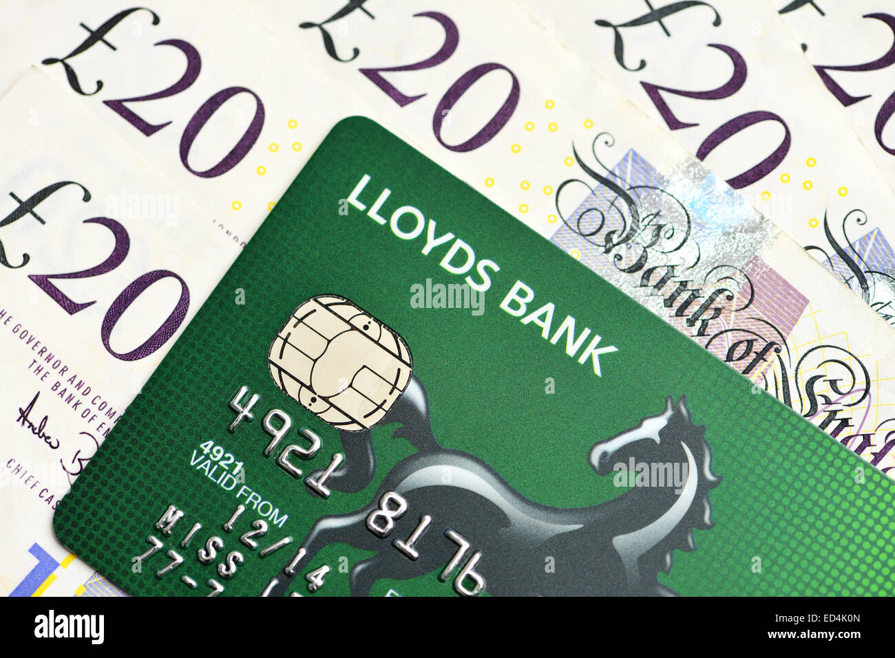 Lloyds credit card and twenty pound notes sterling cash - Stock Image
