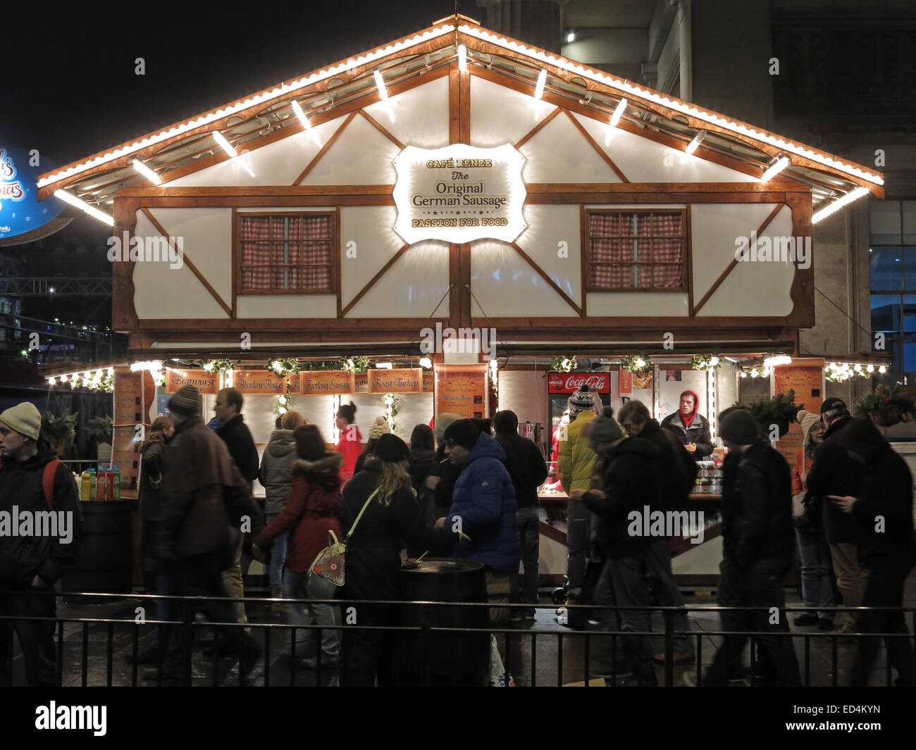 Edinburgh Xmas,Cafe Renee,German Sausage House Stock Photo