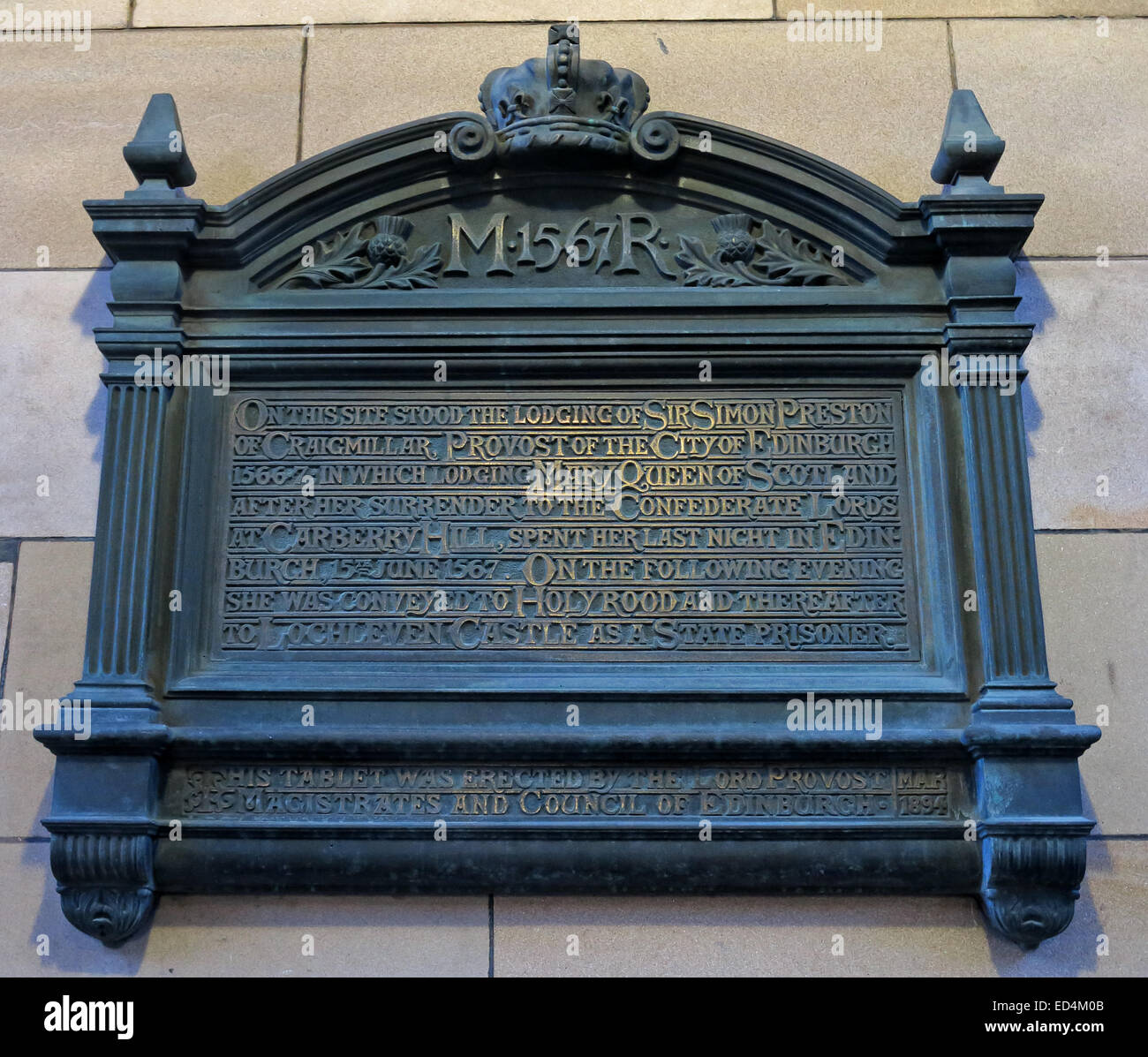 M1567R Plaque for Mary, Queen of Scotland - Stock Image