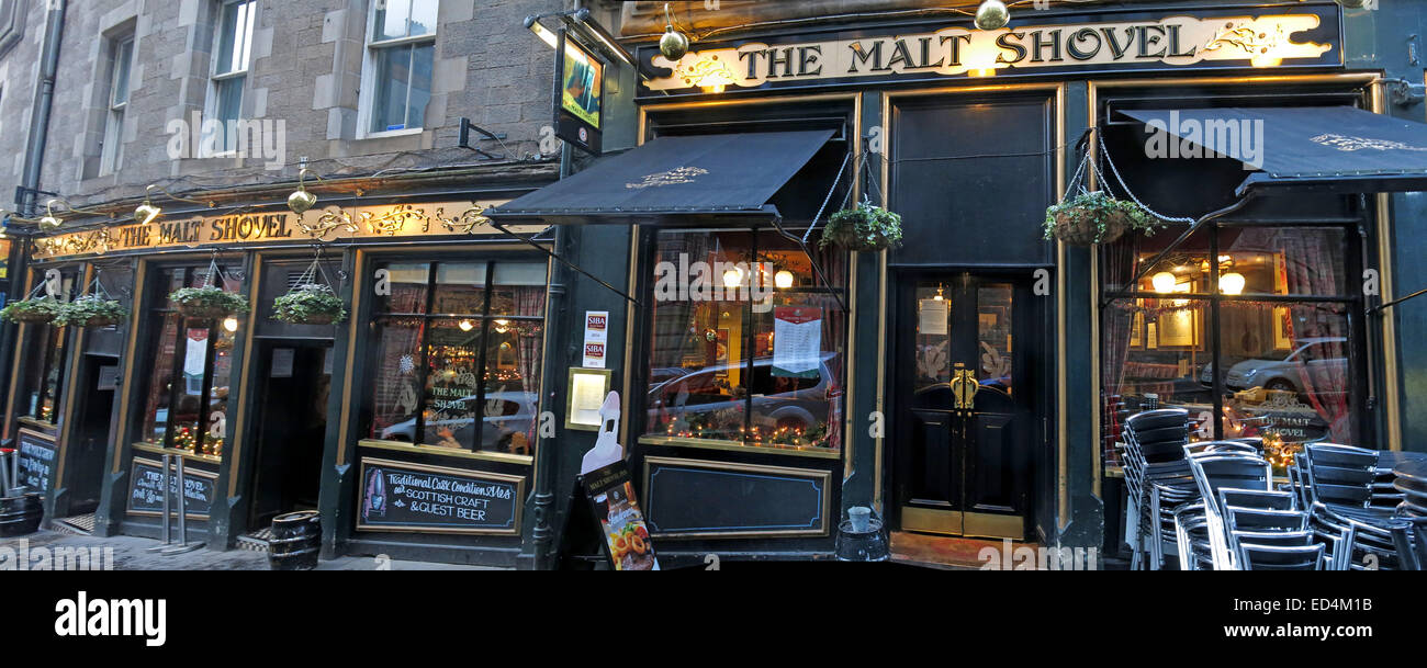 Pano of The malt Shovel, Taylor Walker pub Edinburgh old Town, Scotland, UK - Stock Image