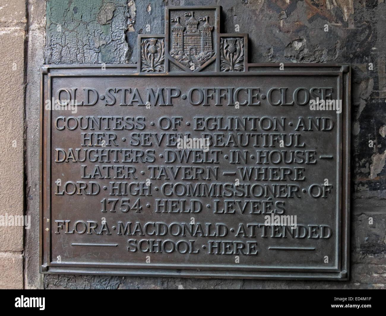 Old Stamp Office Close - detail of plaque, off Royal Mile, Edinburgh City, Scotland, UK - Stock Image