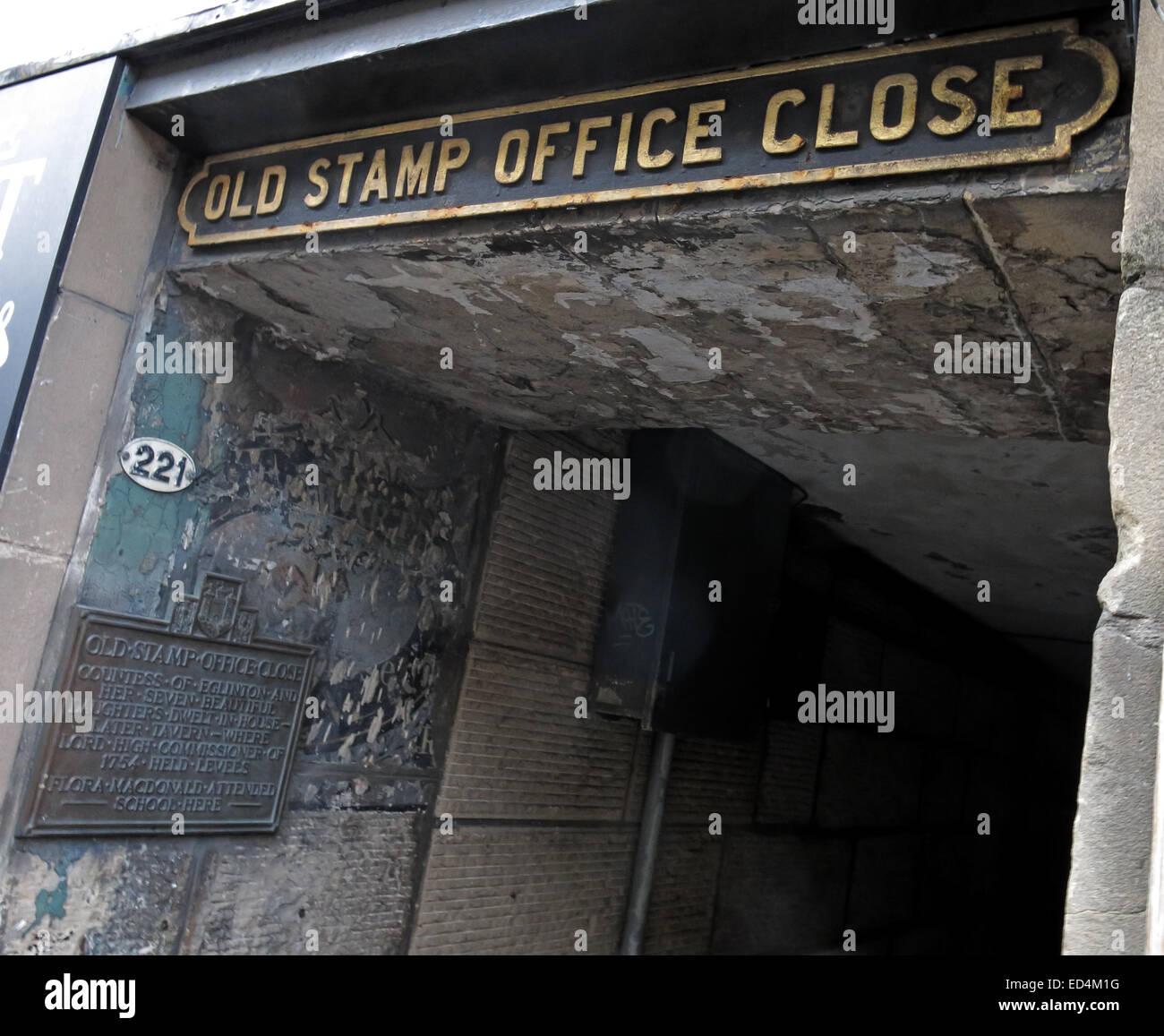 Old Stamp Office Close, off Royal Mile, Edinburgh City, Scotland, UK - Stock Image