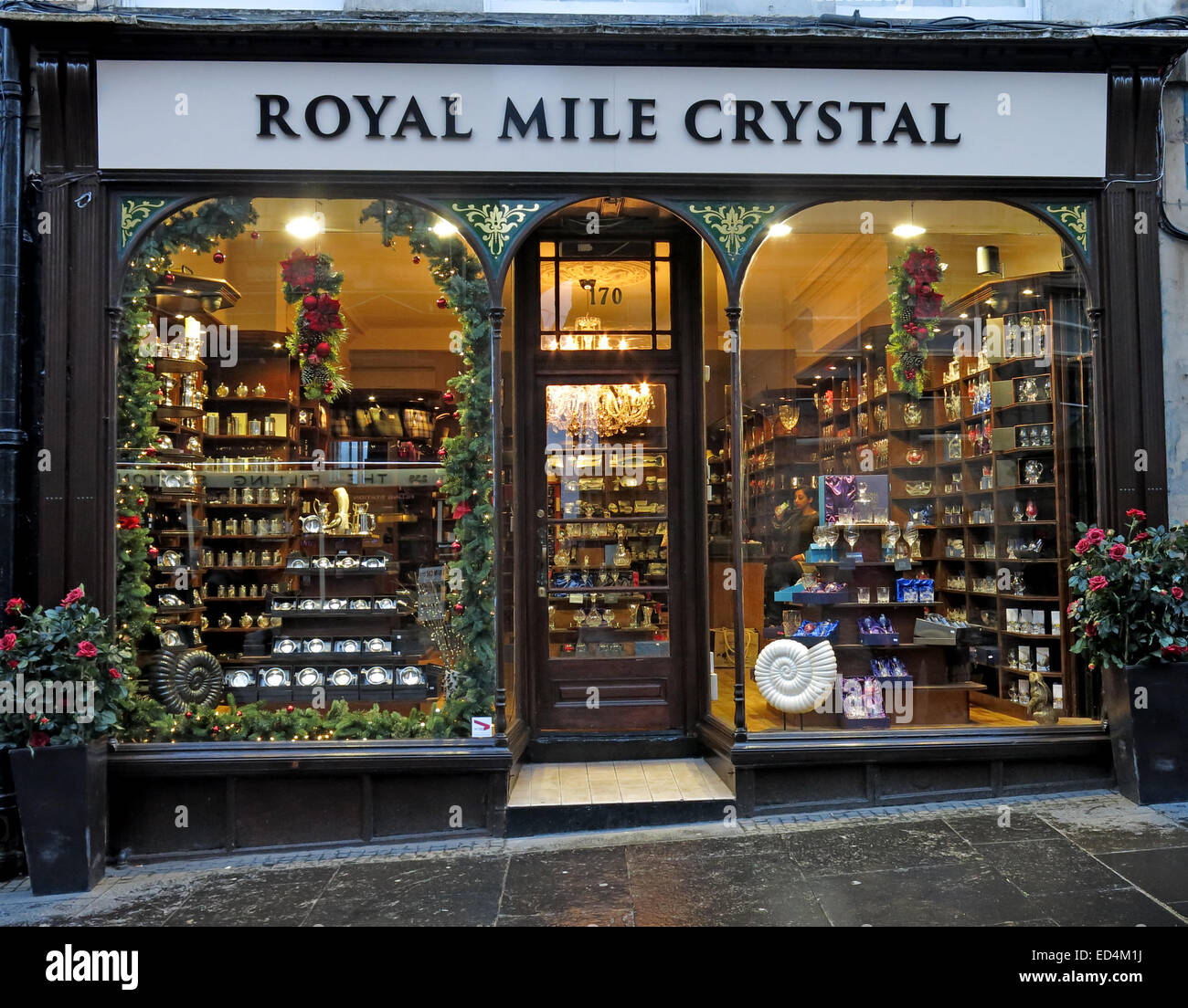 Royal Mile Crystal shop,High St,Edinburgh Old Town,Scotland, UK - Stock Image