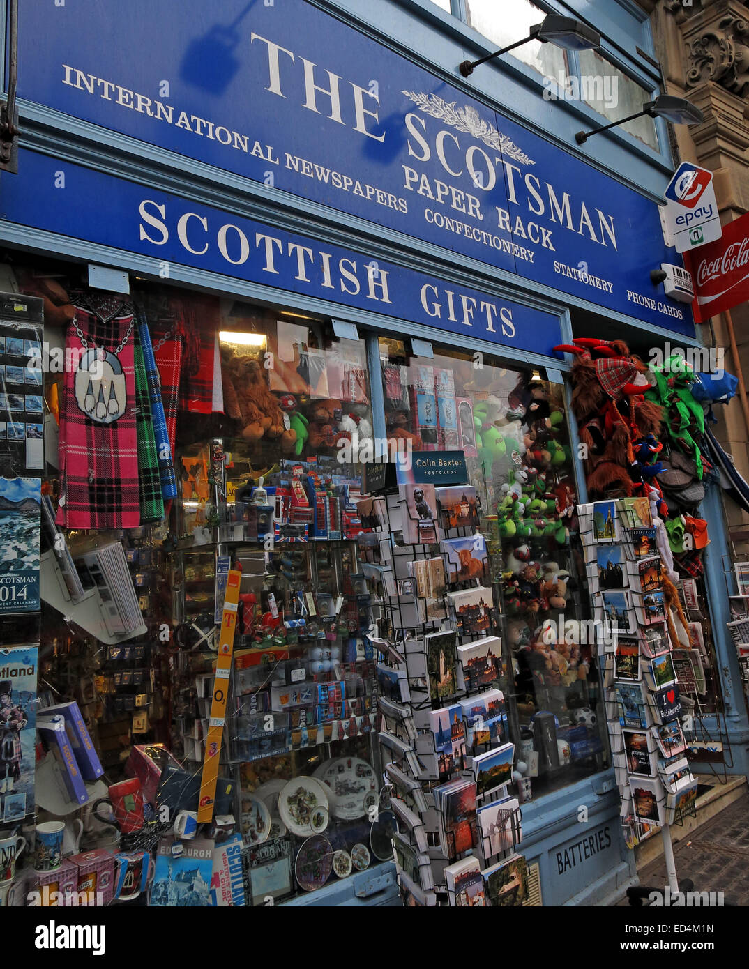 The Scotsman Paper Rack, Cockburn St Edinburgh, Scotland, Uk Stock Photo