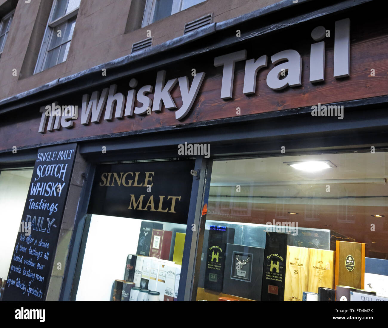 Edinburgh Whisky Trail Shop, Scotland, UK - Stock Image