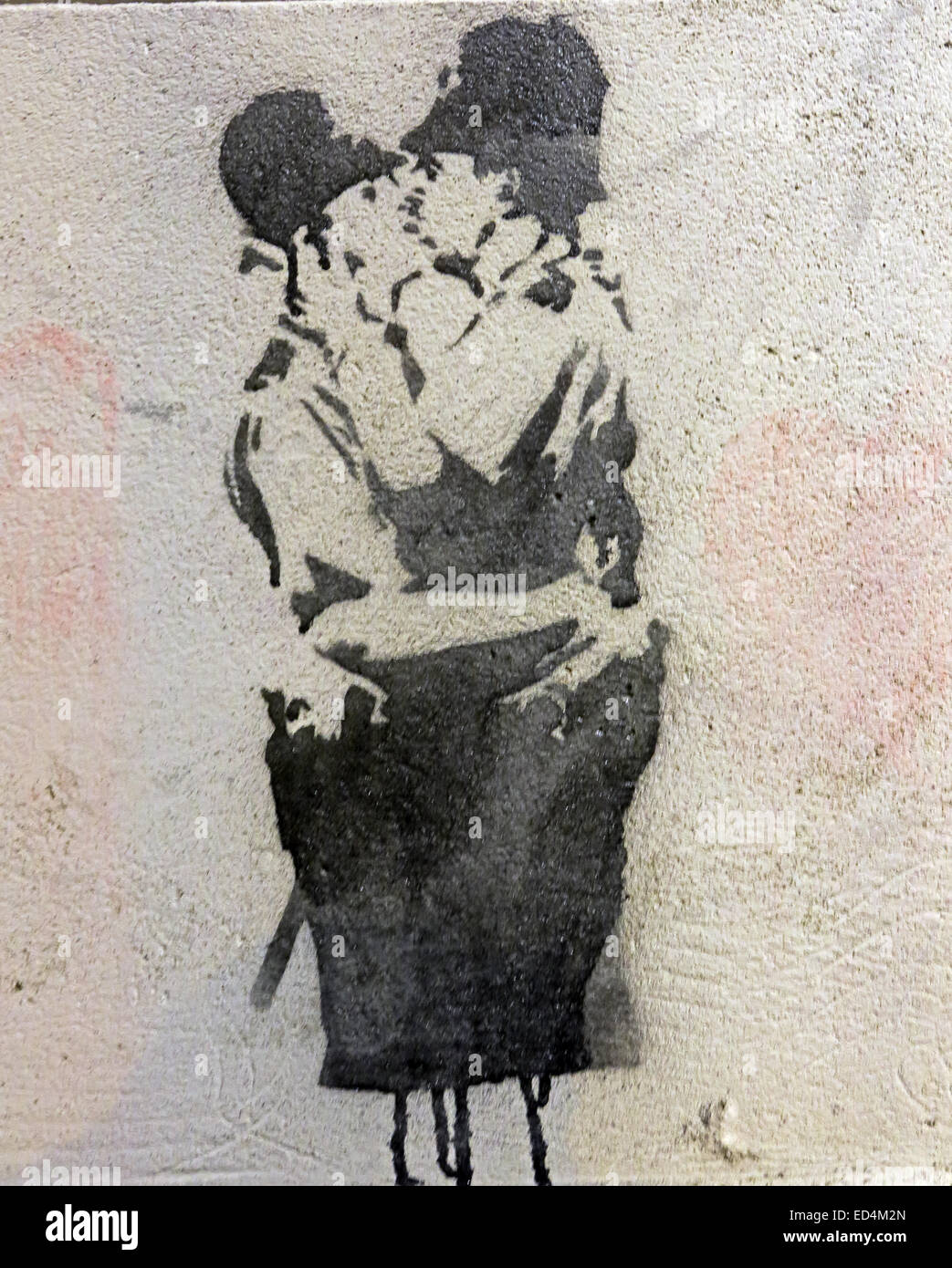 Banksy of two policemen kissing, the Vennel Edinburgh, Scotland, UK - Stock Image