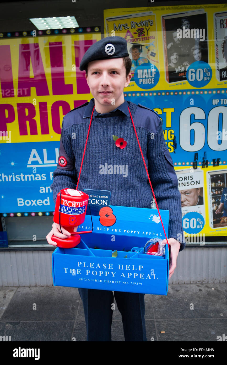 A young man, teenage boy, wearing an  ATC Air Training Corp uniform, collecting for the Poppy Appeal, 2014 - Stock Image