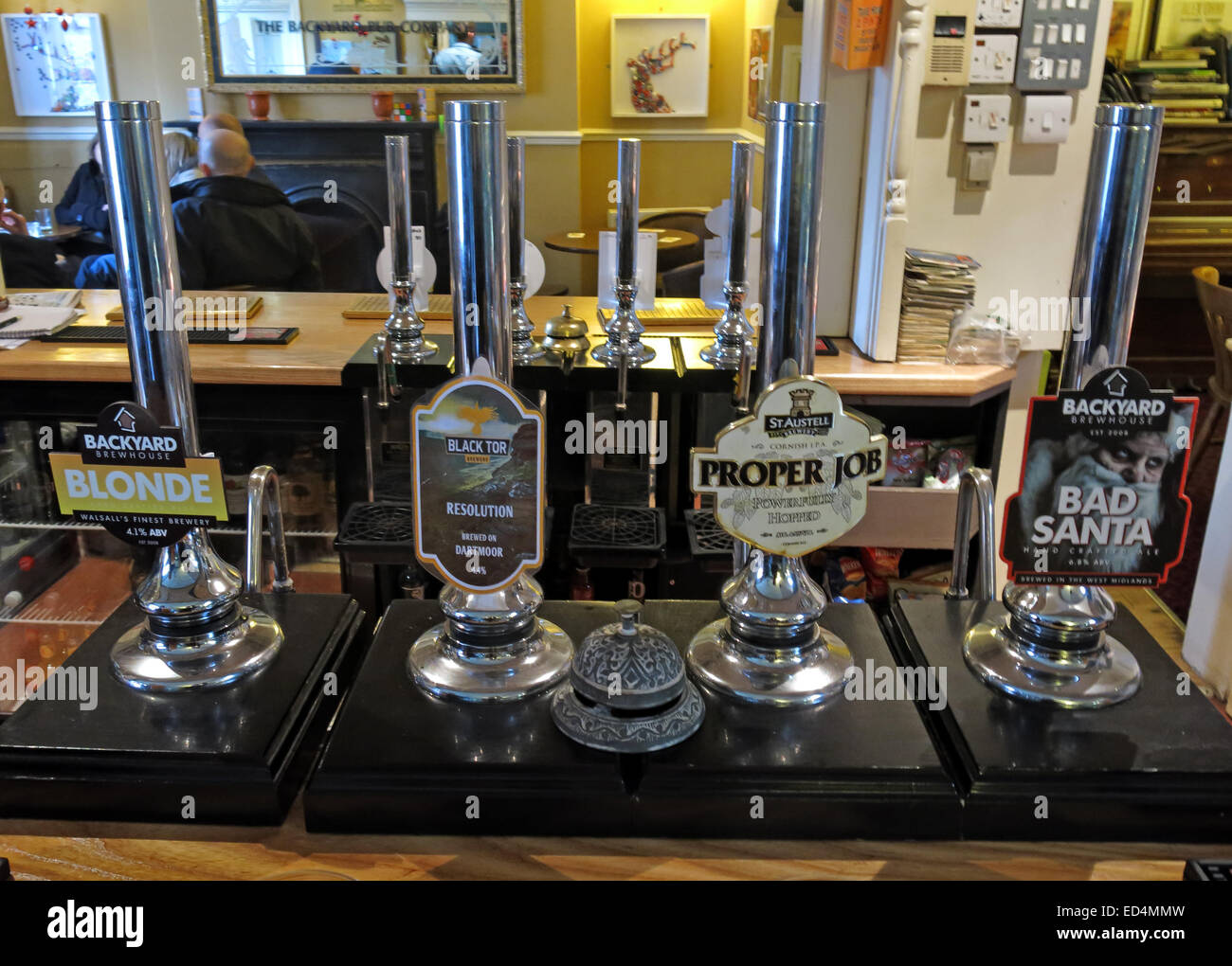 Backhouse Brewery Walsall ales, on bar at The Fountain, Lower Forster Street, Walsall, West Midlands, England, UK - Stock Image