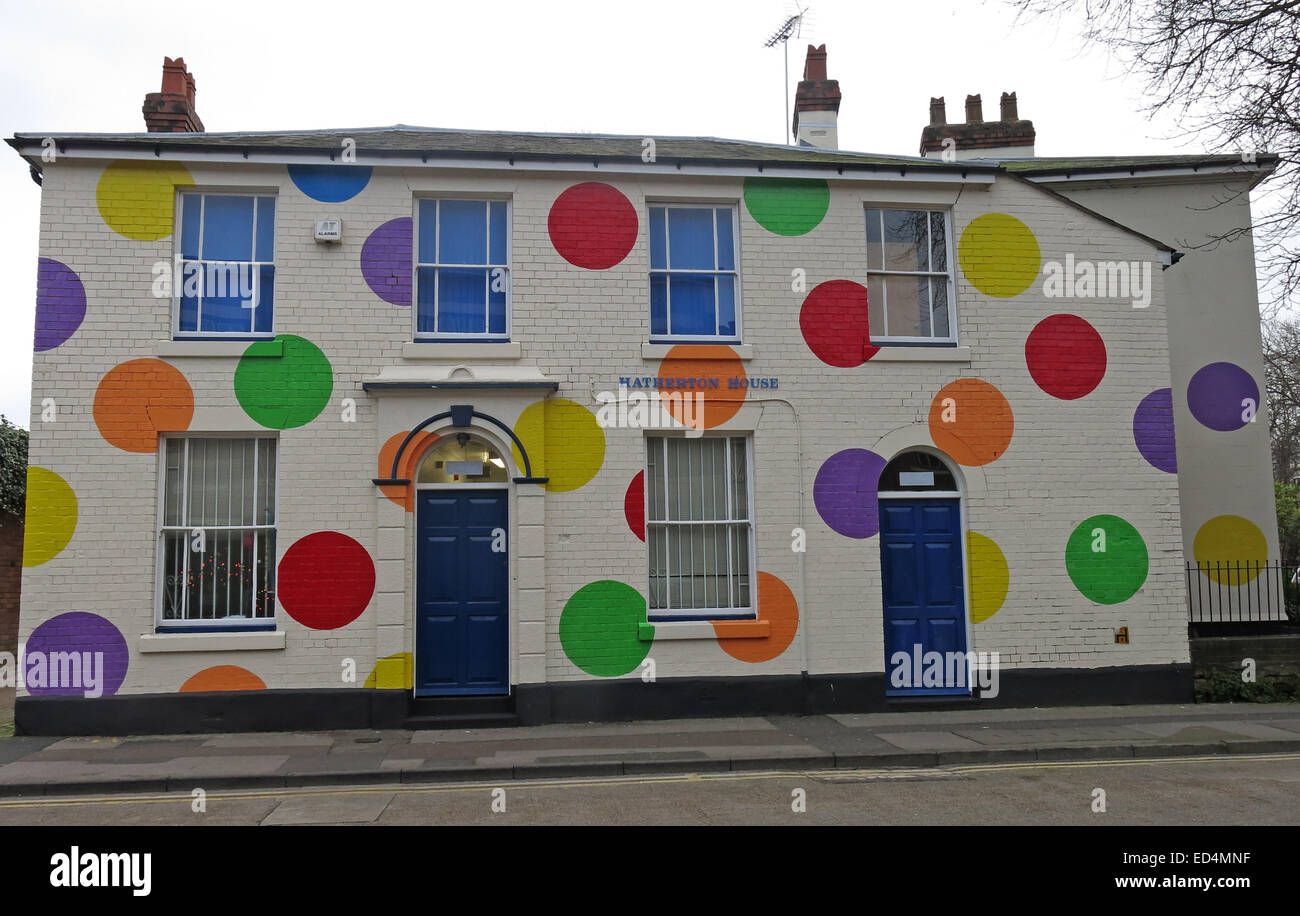 Hatherton House with spots Top-Marks building The Spotty Centre, Walsall, West Midlands, England, GB - Stock Image