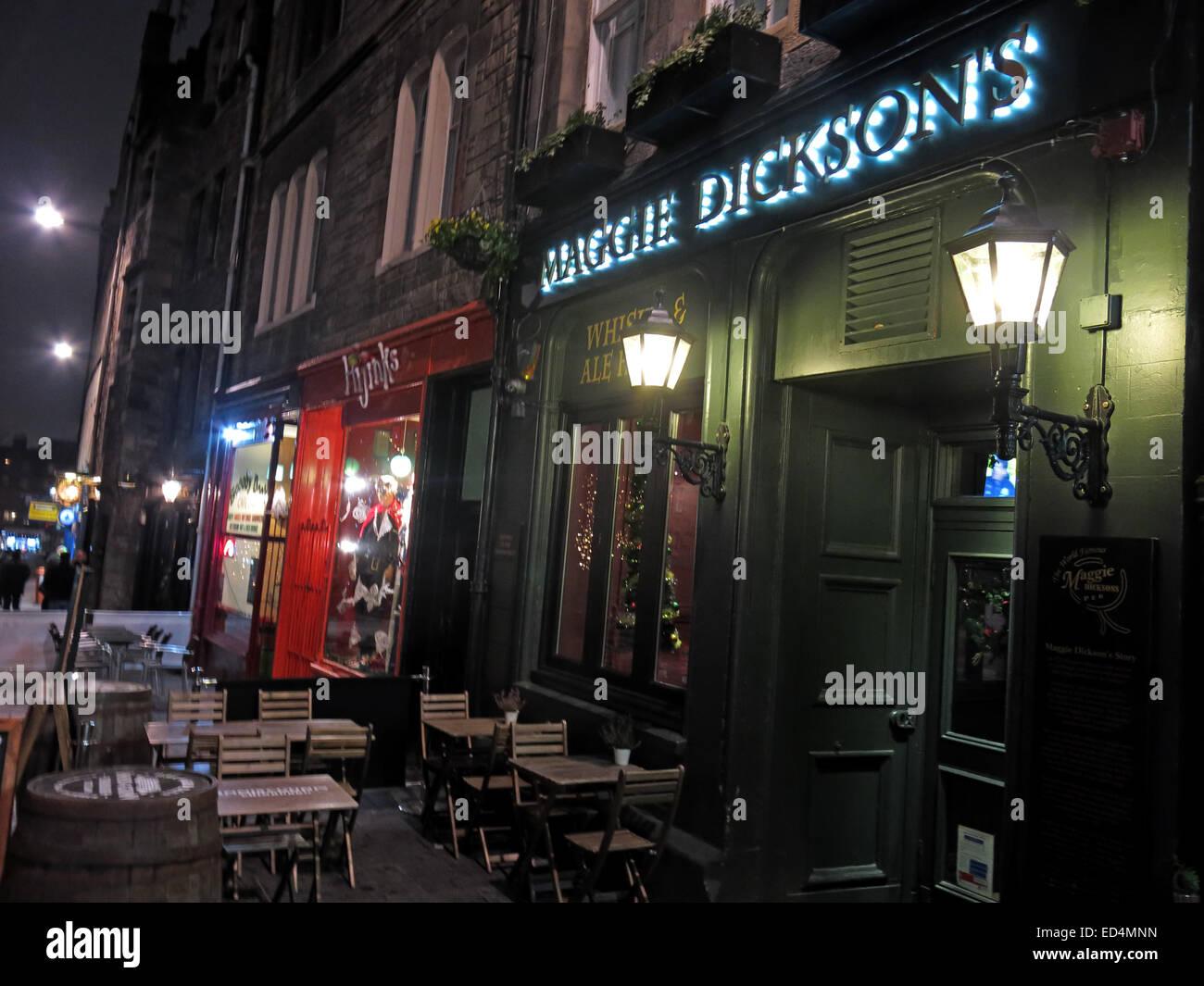 Maggie Dicksons pub Grassmarket at night, Edinburgh, Scotland, UK - Half Hangit' Maggie Stock Photo