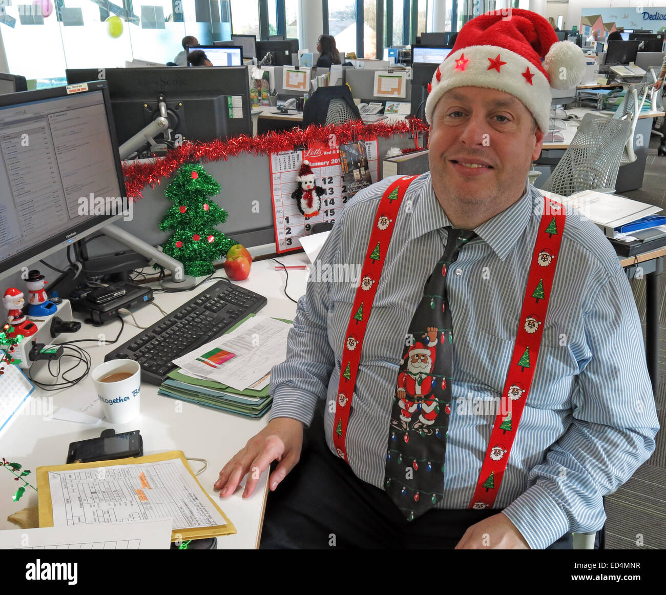 How to get festive in the office for Christmas Stock Photo
