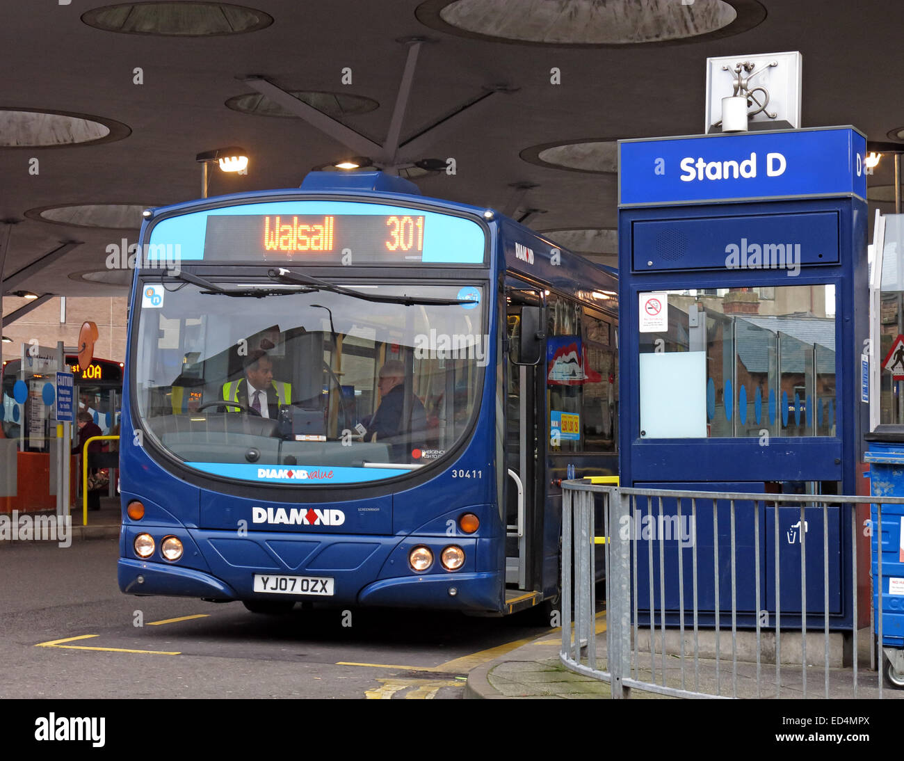 NXWM Walsall Bus Station St Pauls Street Stand D with 301 Diamond bus - Stock Image