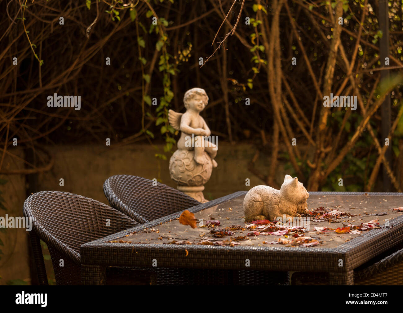 Warm colors of rustic autumn garden table with falling leaves and statue of cat and angel in background Stock Photo