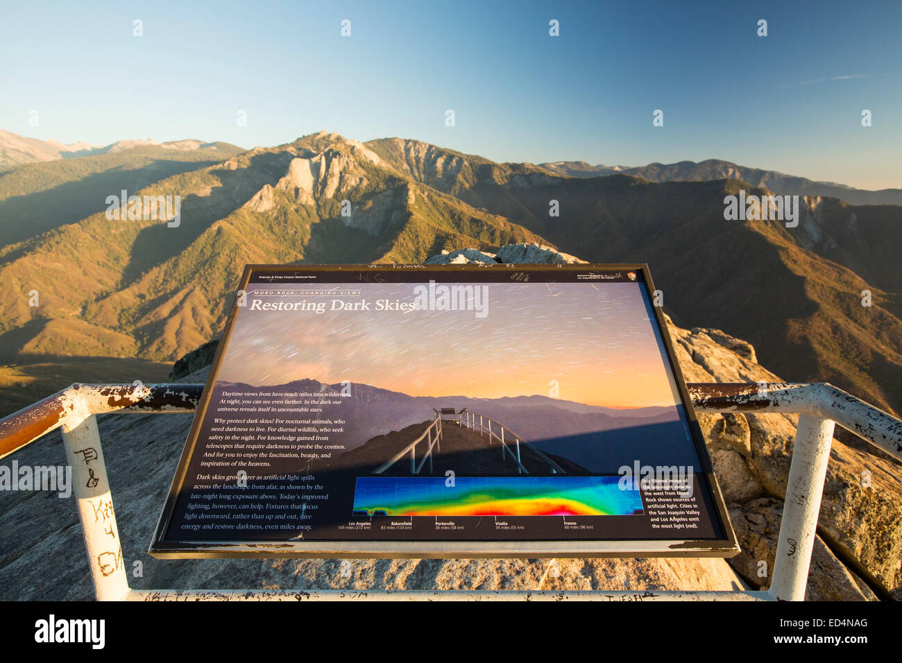 A sign about dark skies on the summit of Moro Rock a granite outcrop viewpoint in the Sequoia National Park, Yosemite, - Stock Image
