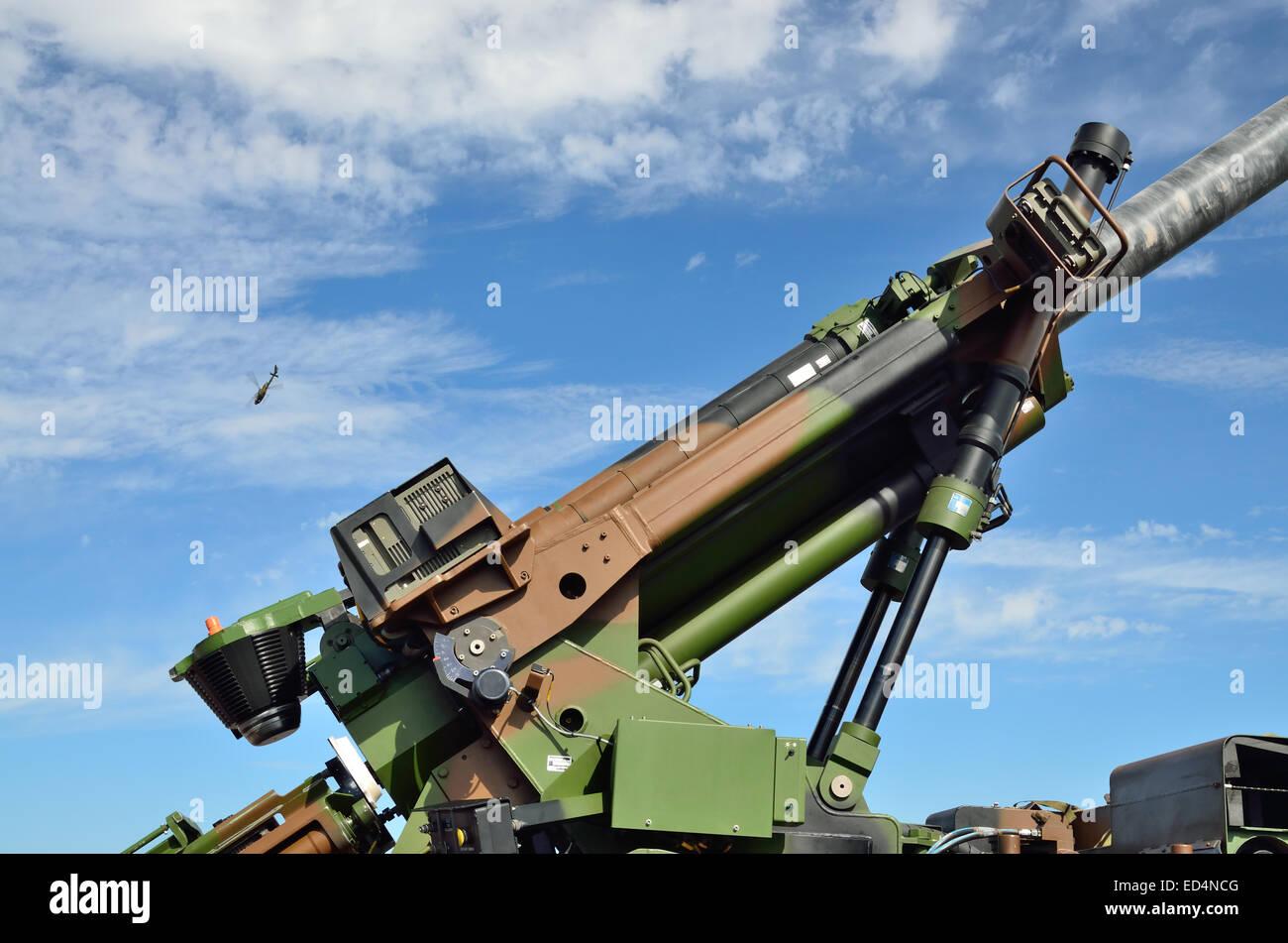 Close-up of the modern antiaircraft gun - Stock Image