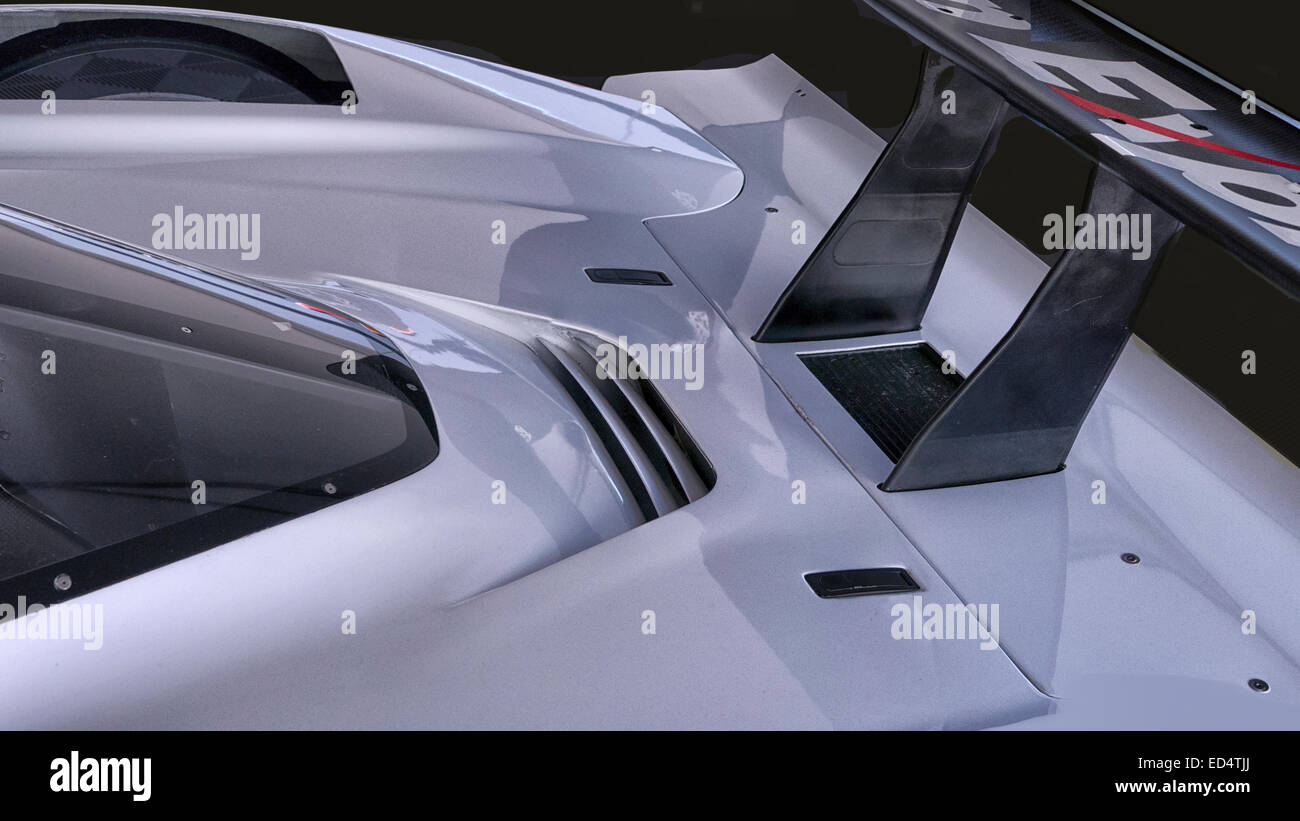 A rear wing and tail section detail image of a Corvette GTP race car. - Stock Image