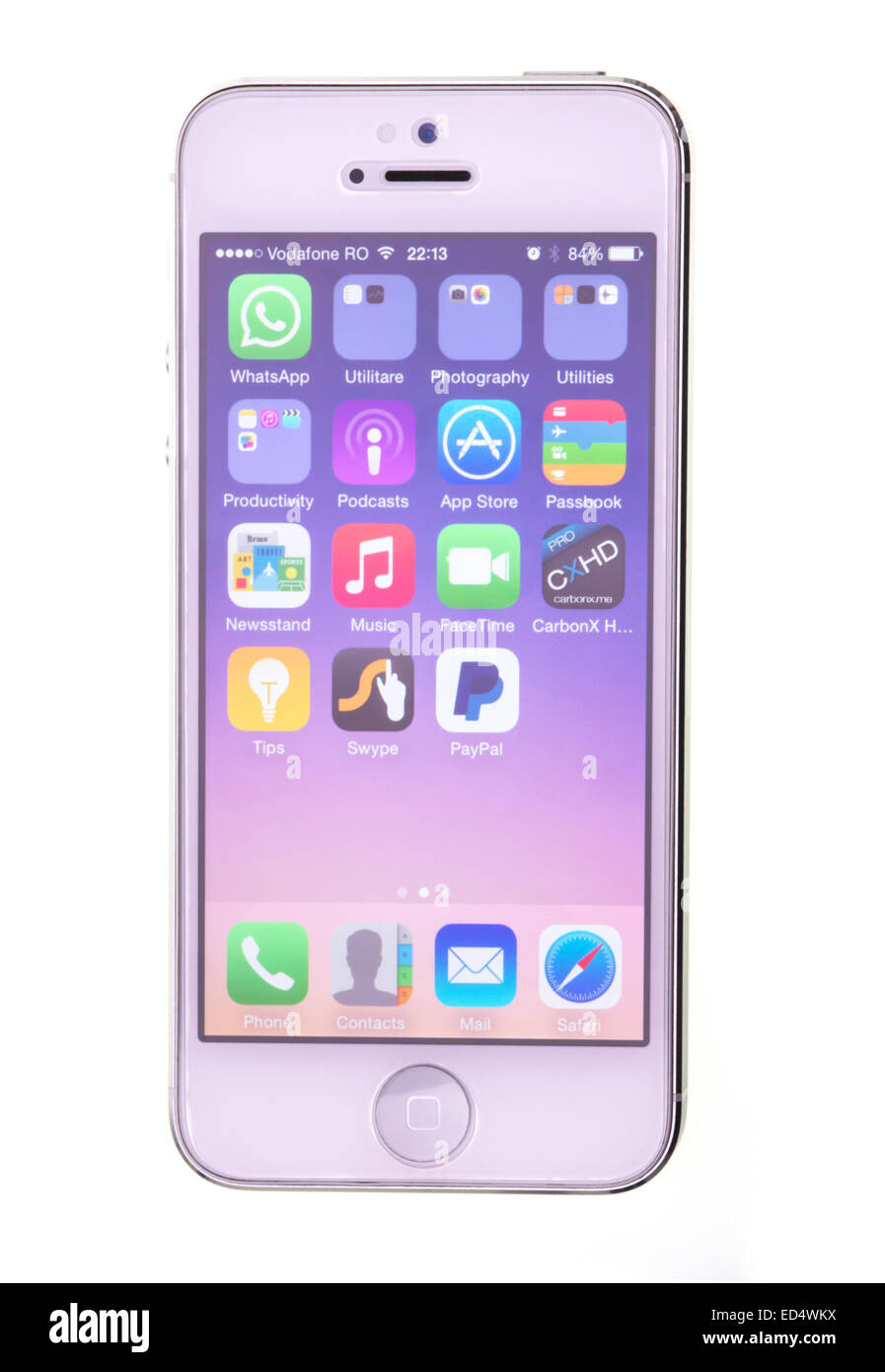 New Apple iPhone display, touch screen device. - Stock Image