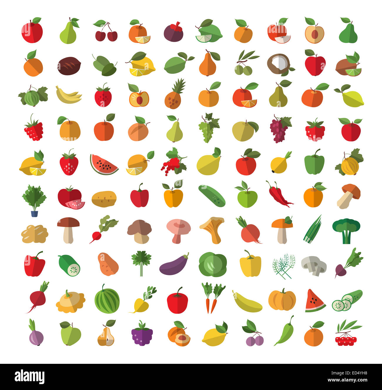 Food. Fruit and vegetables. Set of colored icons - Stock Image