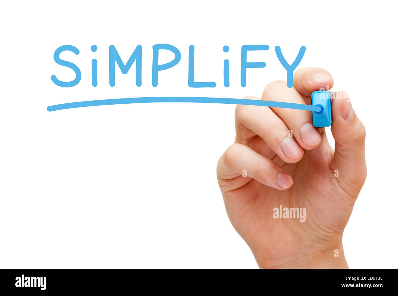Hand writing Simplify with blue marker on transparent wipe board isolated on white. - Stock Image