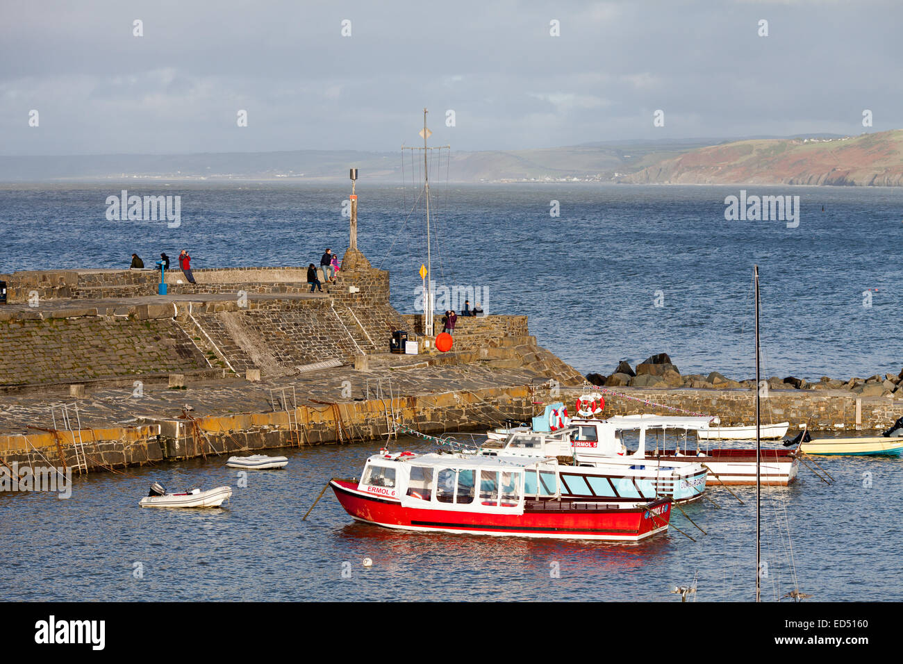 Newquay  harbor in Ceredigion, West Wales.  There are some people on the harbor wall with some moored boats in the Stock Photo