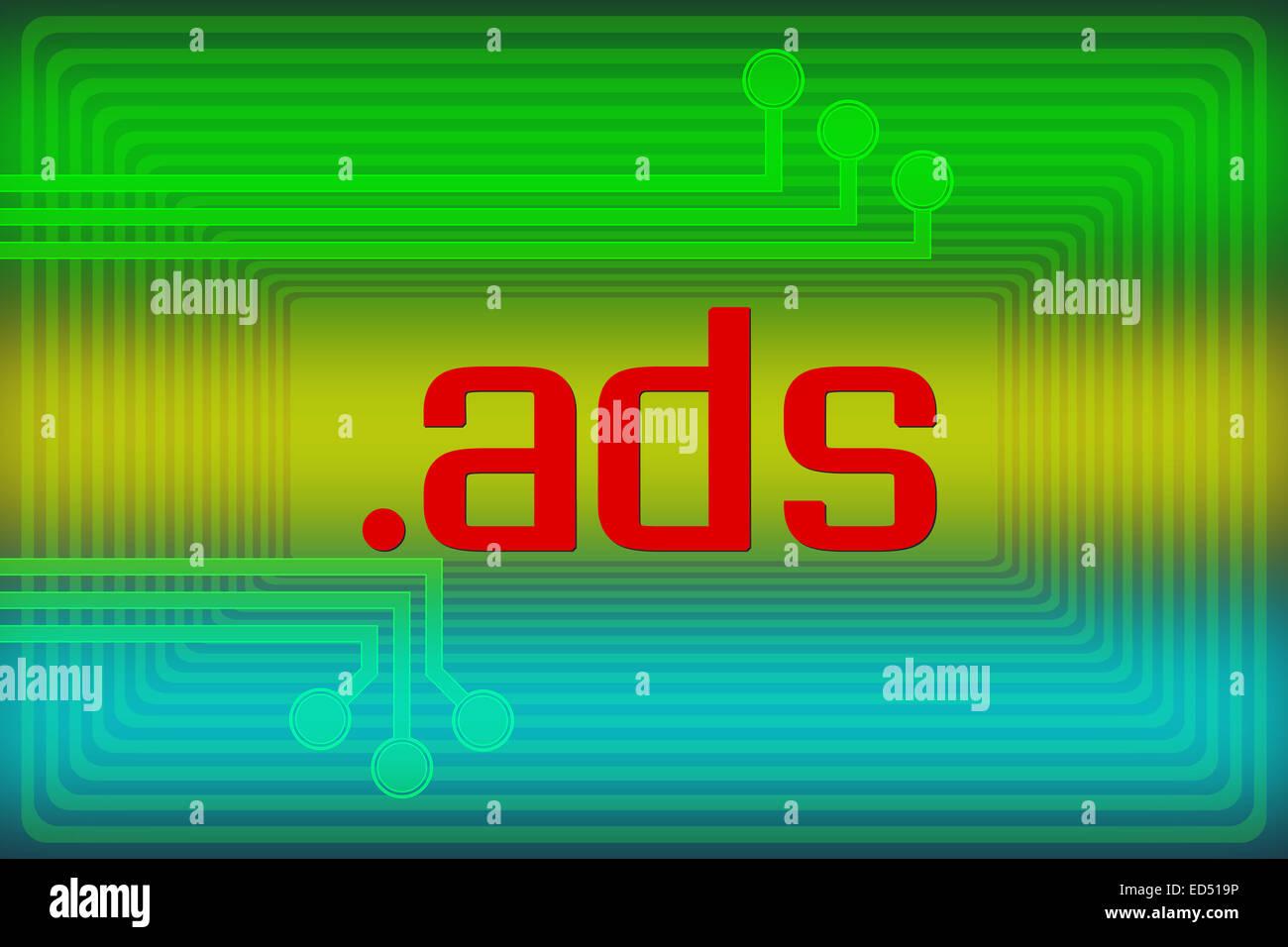 Illustration of internet address dot ads domain name - Stock Image