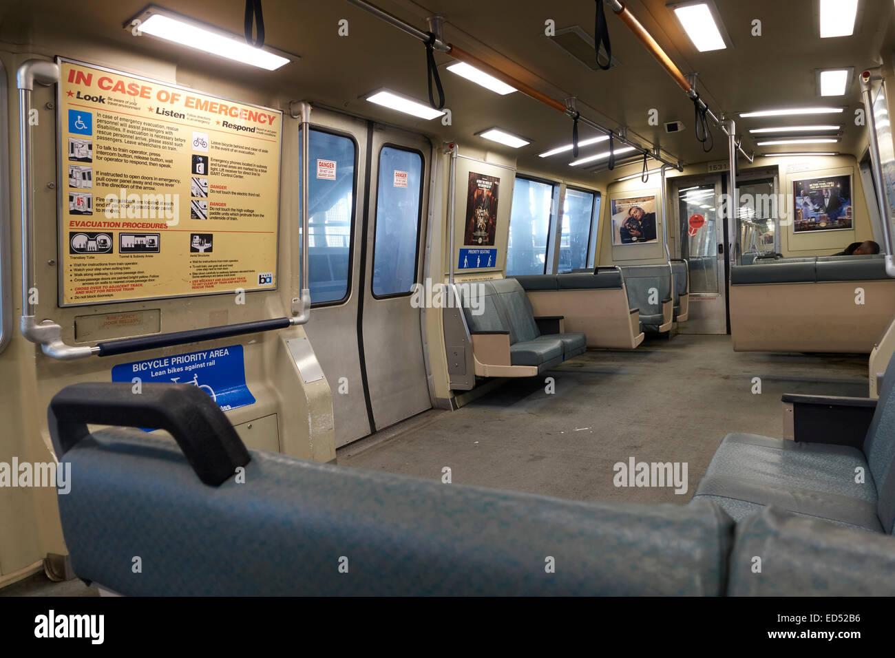 Inside a Bay Area Rapid Transit (BART) train, California, USA - Stock Image