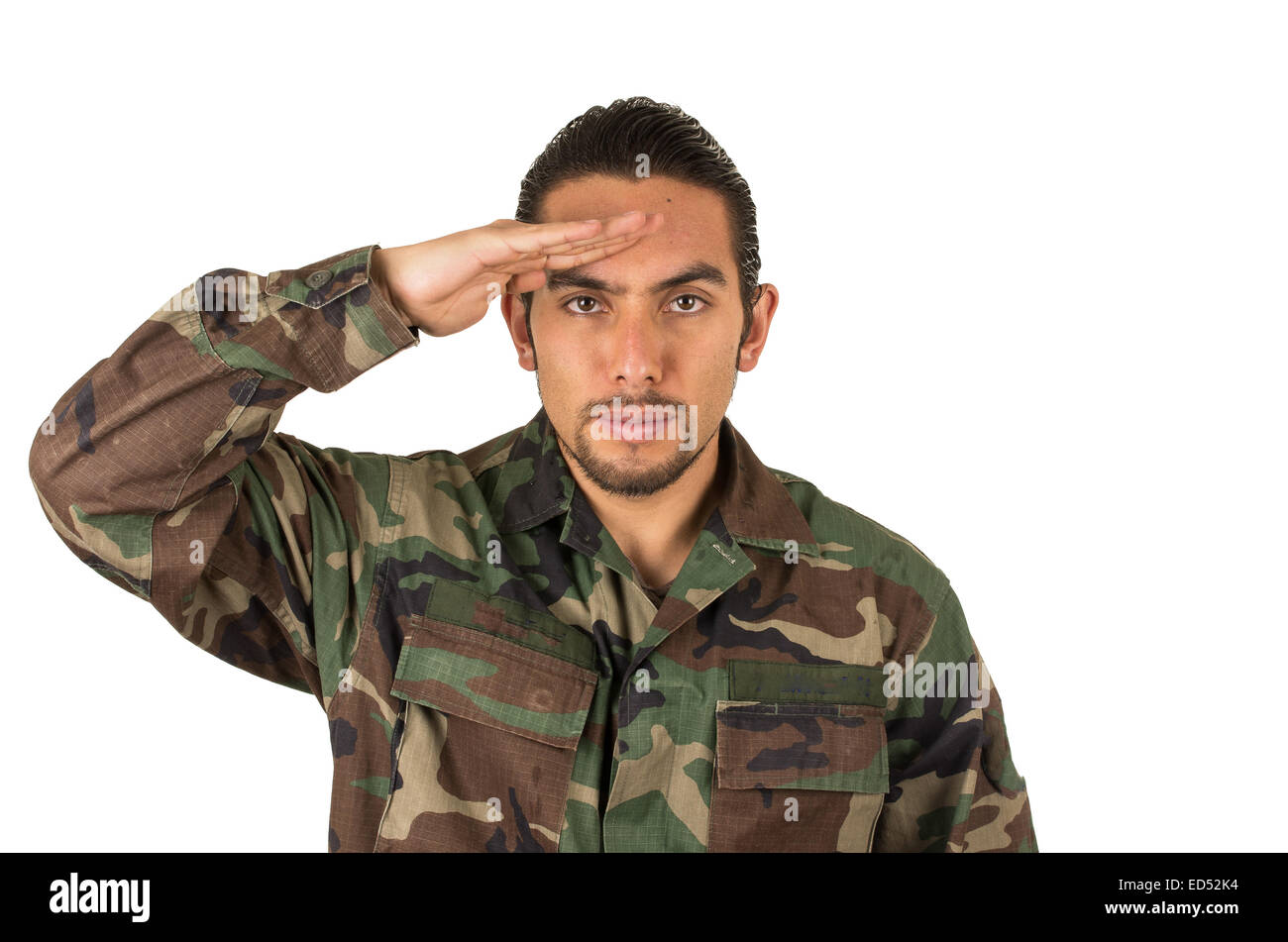 hispanic military man wearing uniform Stock Photo