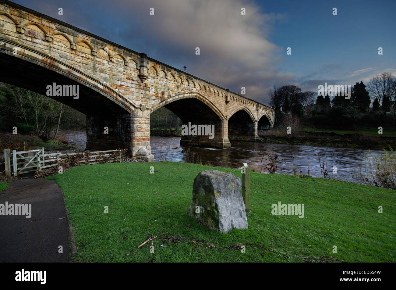The Mercury Bridge, Richmond spanning the River Swale some 400 yards from the Old Railway Station, North Yorkshire. Stock Photo