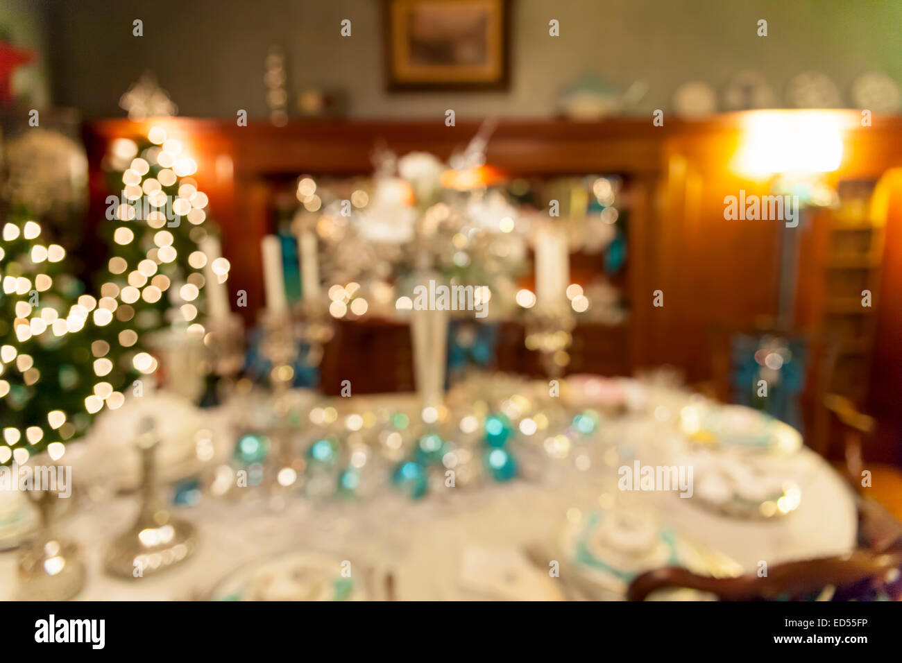 Christmas Day Holiday Celebration Dinner Table Decorations Blurred Stock Photo Alamy