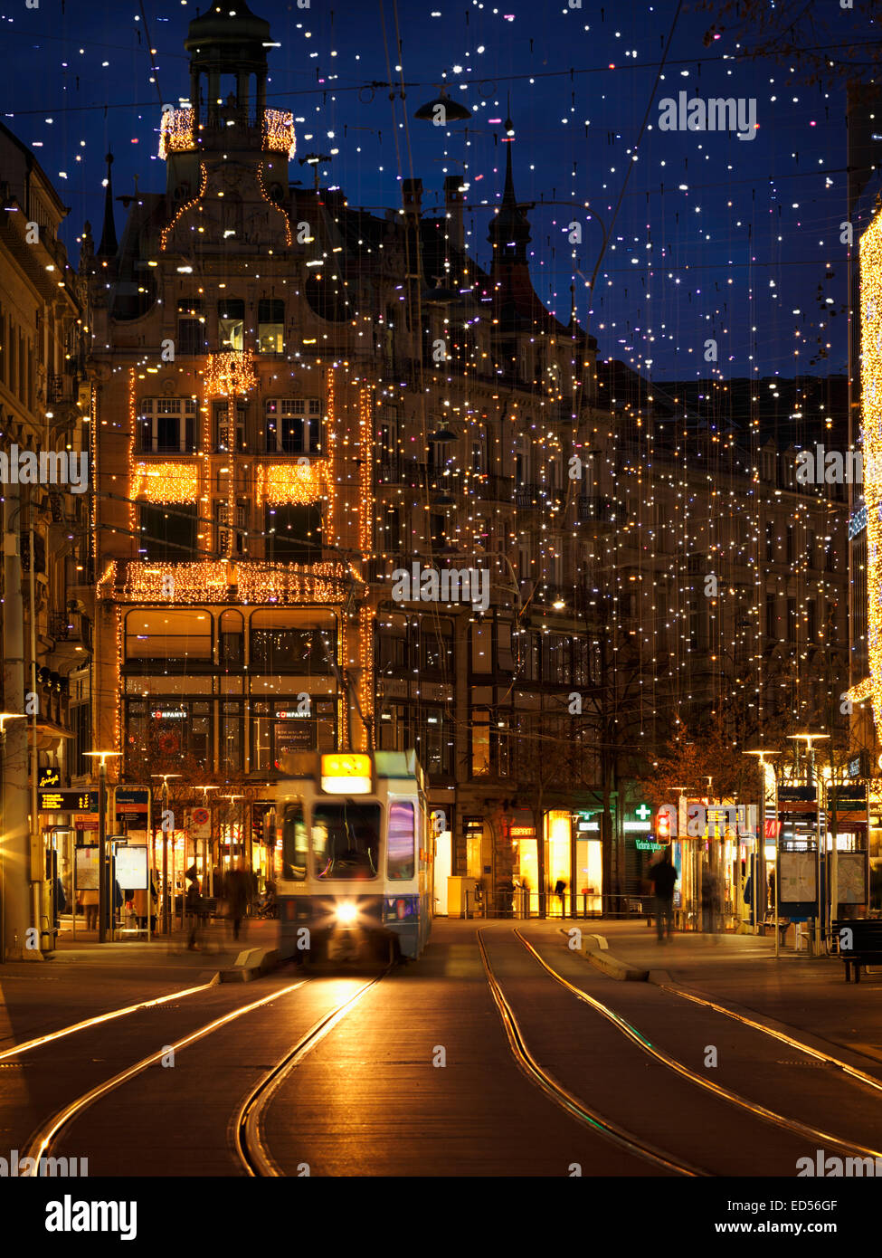 The 'Bahnhofstrasse' decorated with Christmas lights, Zurich, Switzerland. - Stock Image