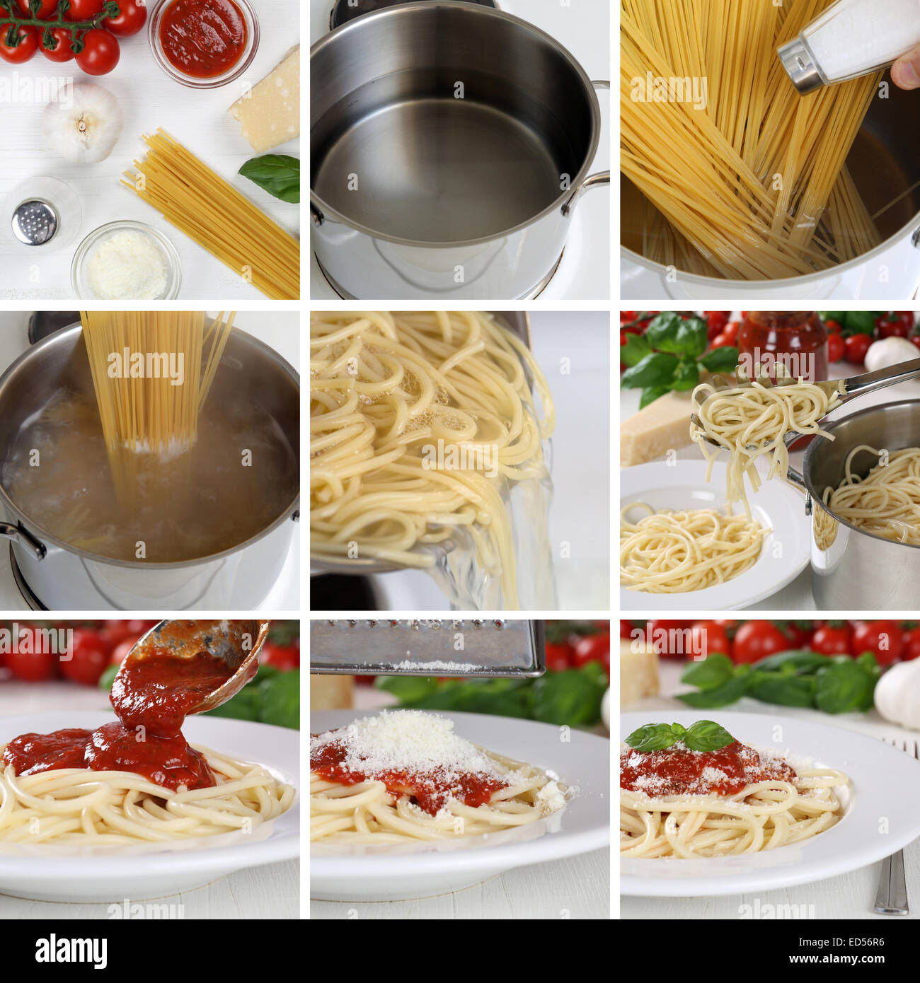 Cooking Spaghetti Noodles Pasta Food With Tomato Sauce And Basil Step Stock Photo Alamy