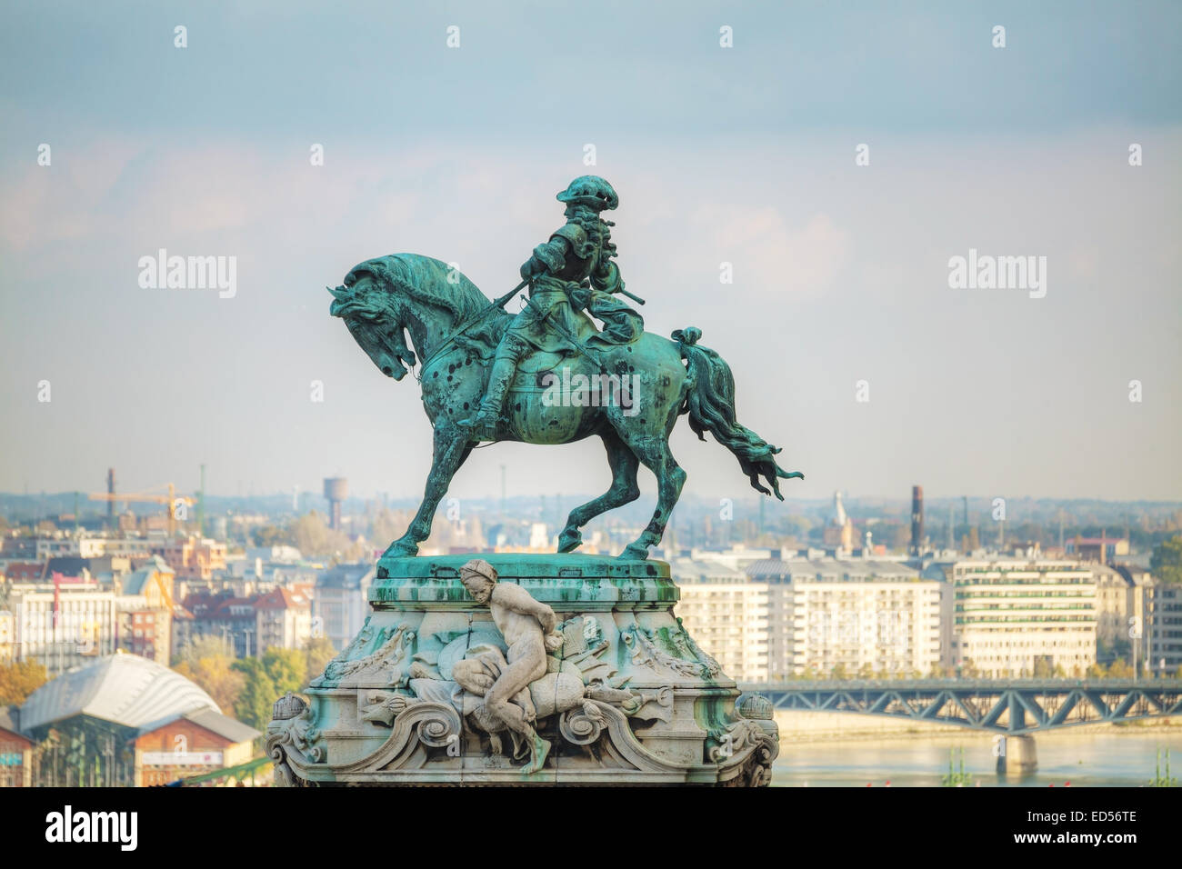 BUDAPEST - OCTOBER 21: Statue of Prince Eugene of Savoy at the Royal Castle on October 21, 2014 in Budapest, Hungary. Stock Photo