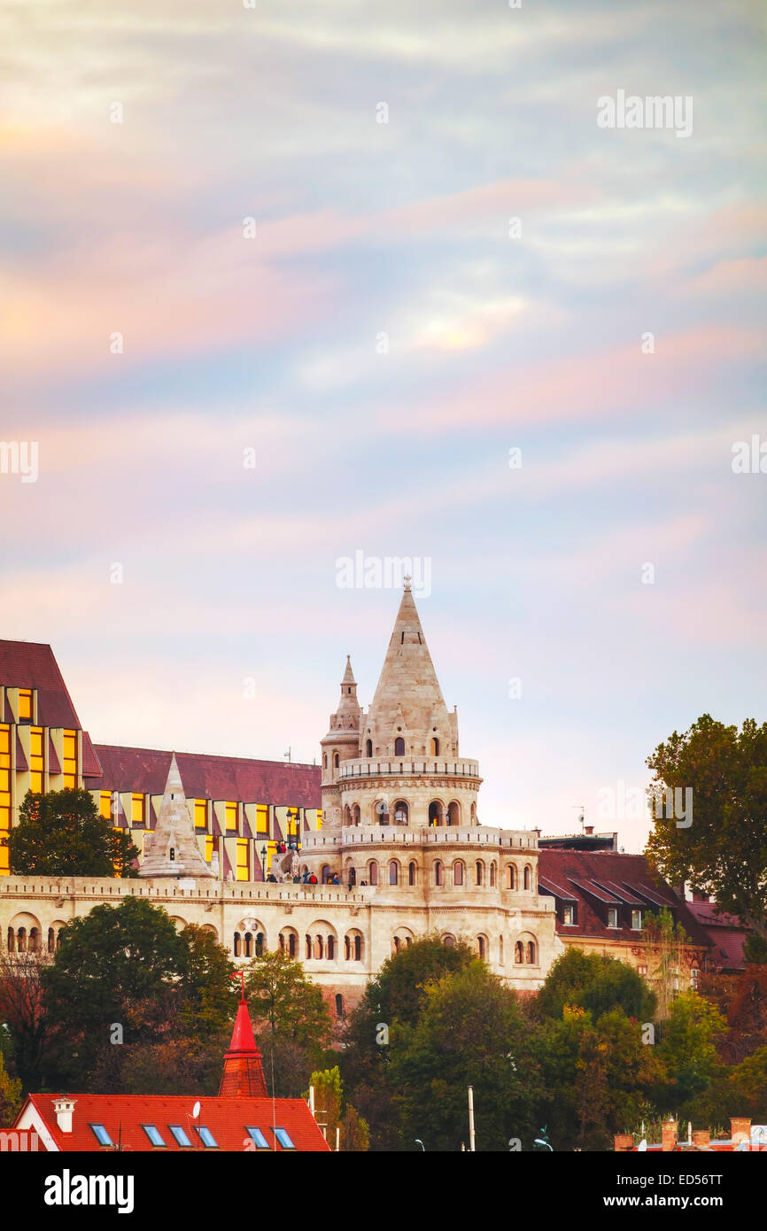 Fisherman bastion in Budapest, Hungary in the evening - Stock Image