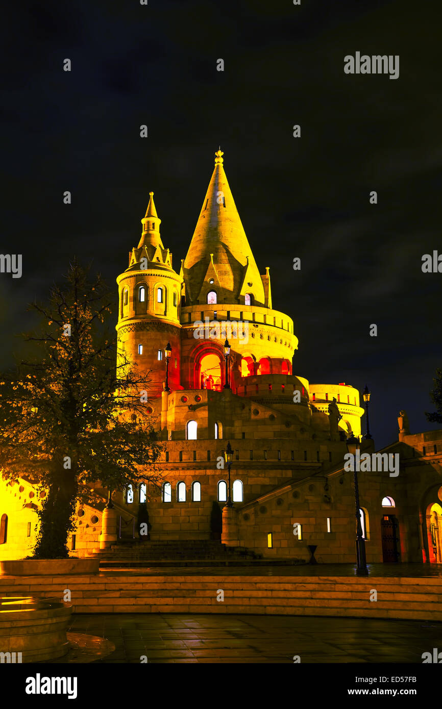 Fisherman bastion in Budapest, Hungary at night - Stock Image