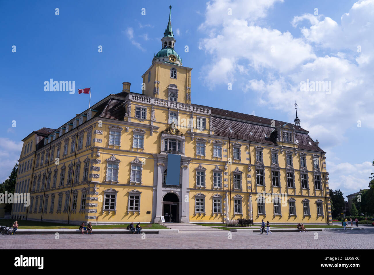 castle and marketplace in oldenburg in summer - Stock Image