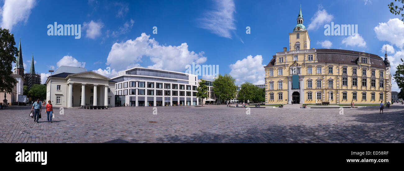 castle and palace guard in oldenburg in summer time - Stock Image