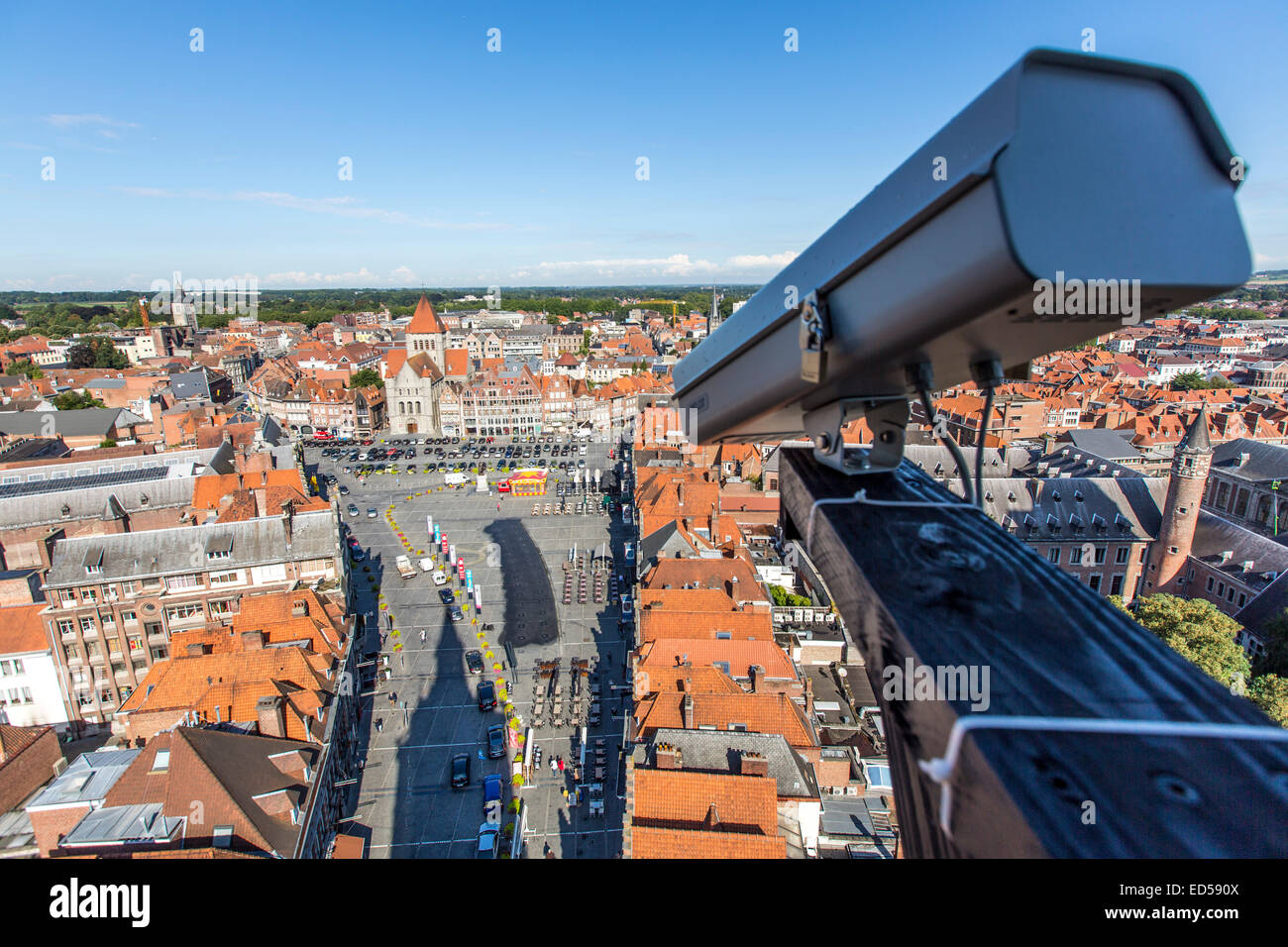 Grand Place, view from the belfry tower in the old town, Video surveillance camera - Stock Image