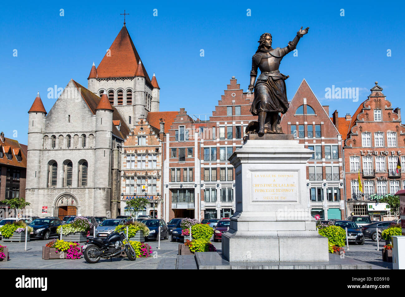 Grand Place, in the old town, Church of St. Quentin, monument of Christine de Lalang, - Stock Image