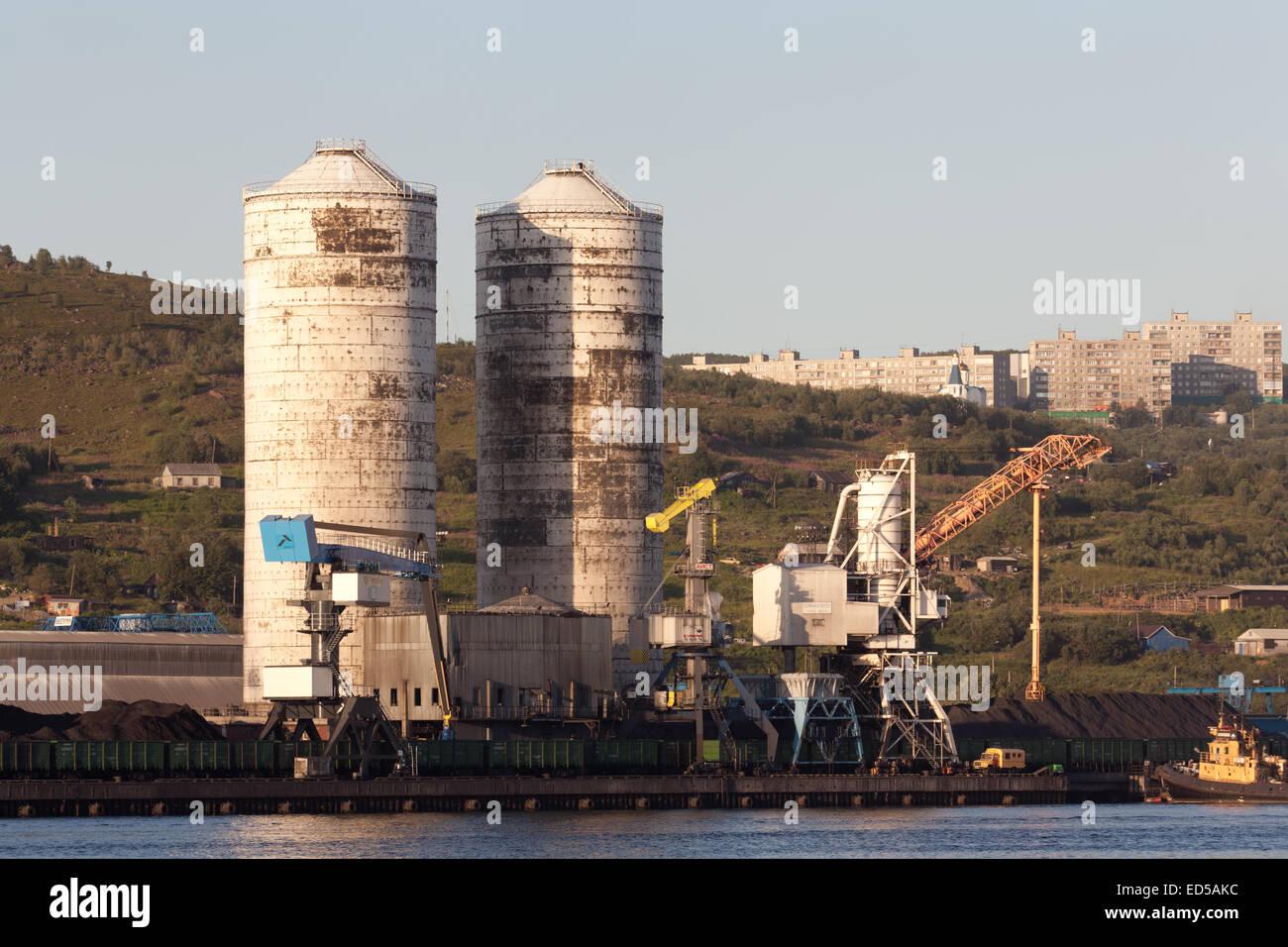 Coal berth in Murmansk - Stock Image
