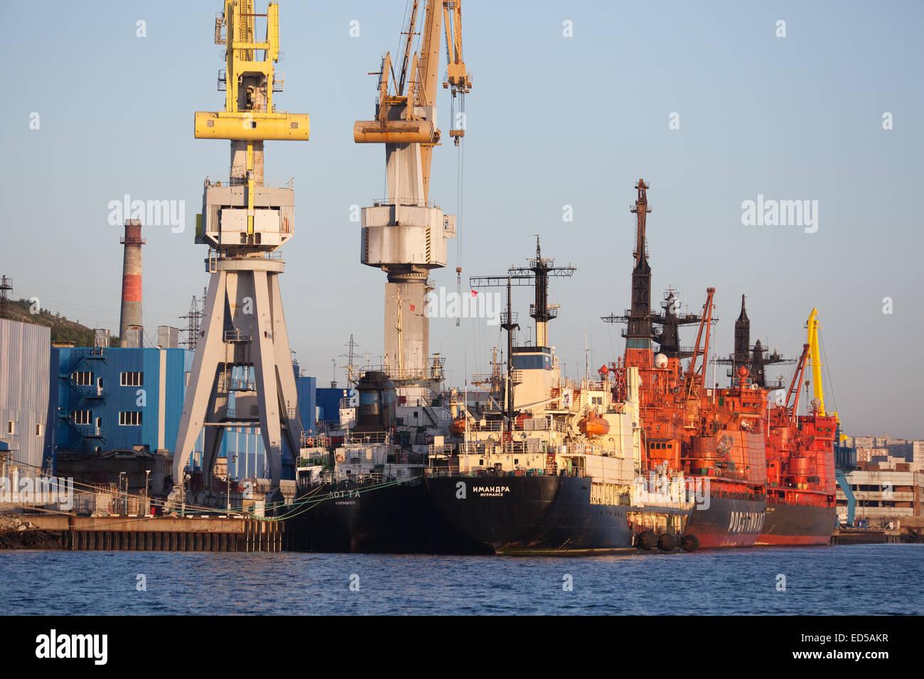 Berth Murmansk nuclear fleet - Stock Image