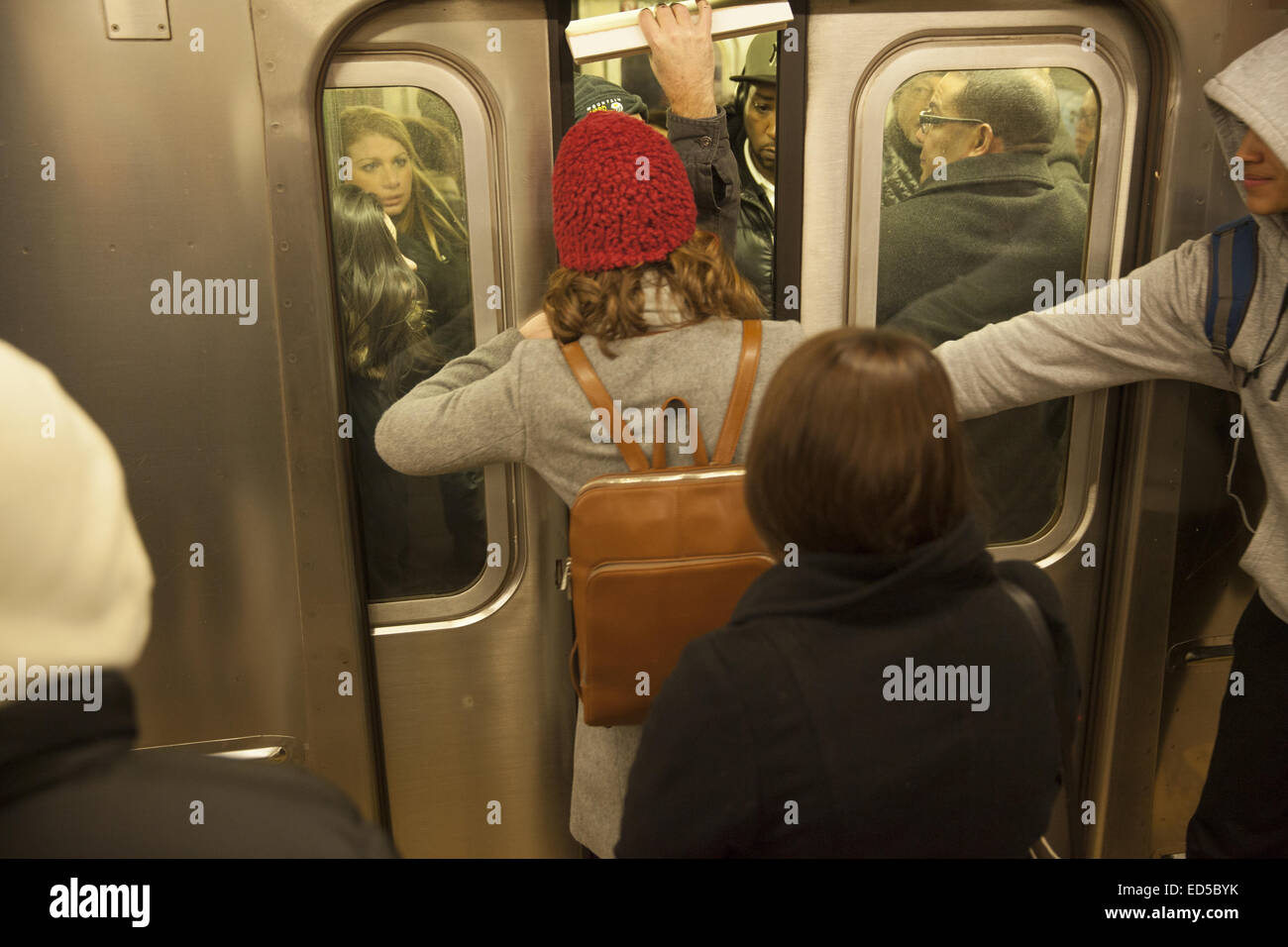Woman tries to squeeze into a subway car when the doors were closing at the Grand Central subway station in NYC. - Stock Image