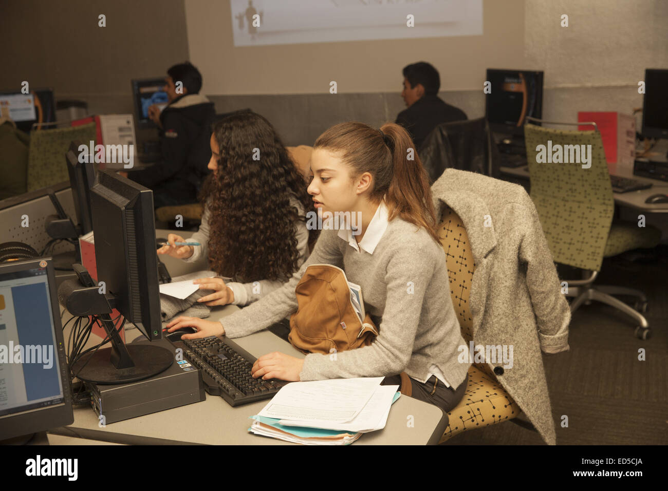 Expanded Horizons college prep lab sponsored by a community center in lower Manhattan, NYC. - Stock Image