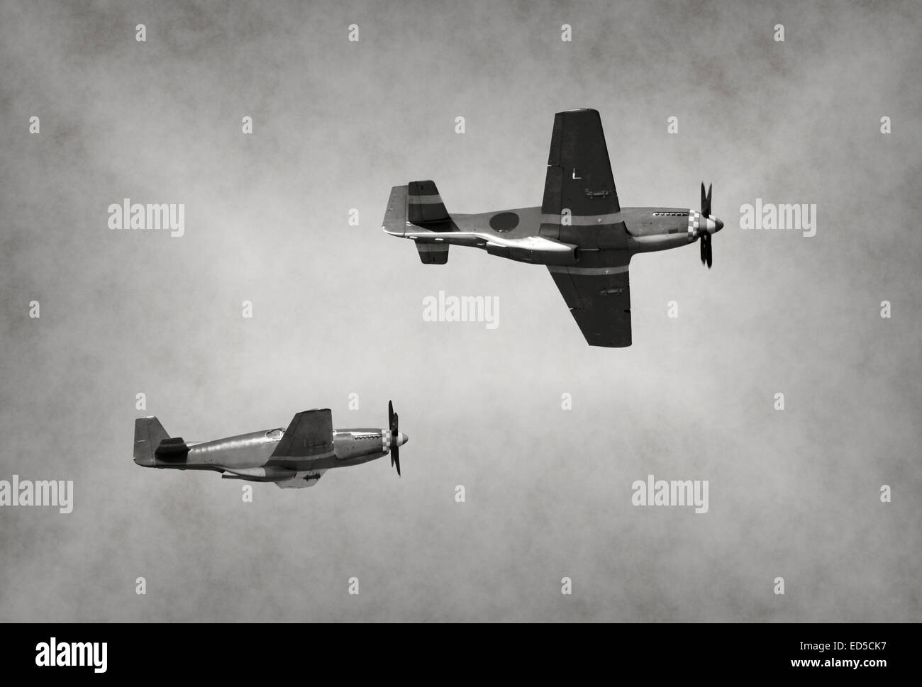World War II era fighter planes on a mission - Stock Image