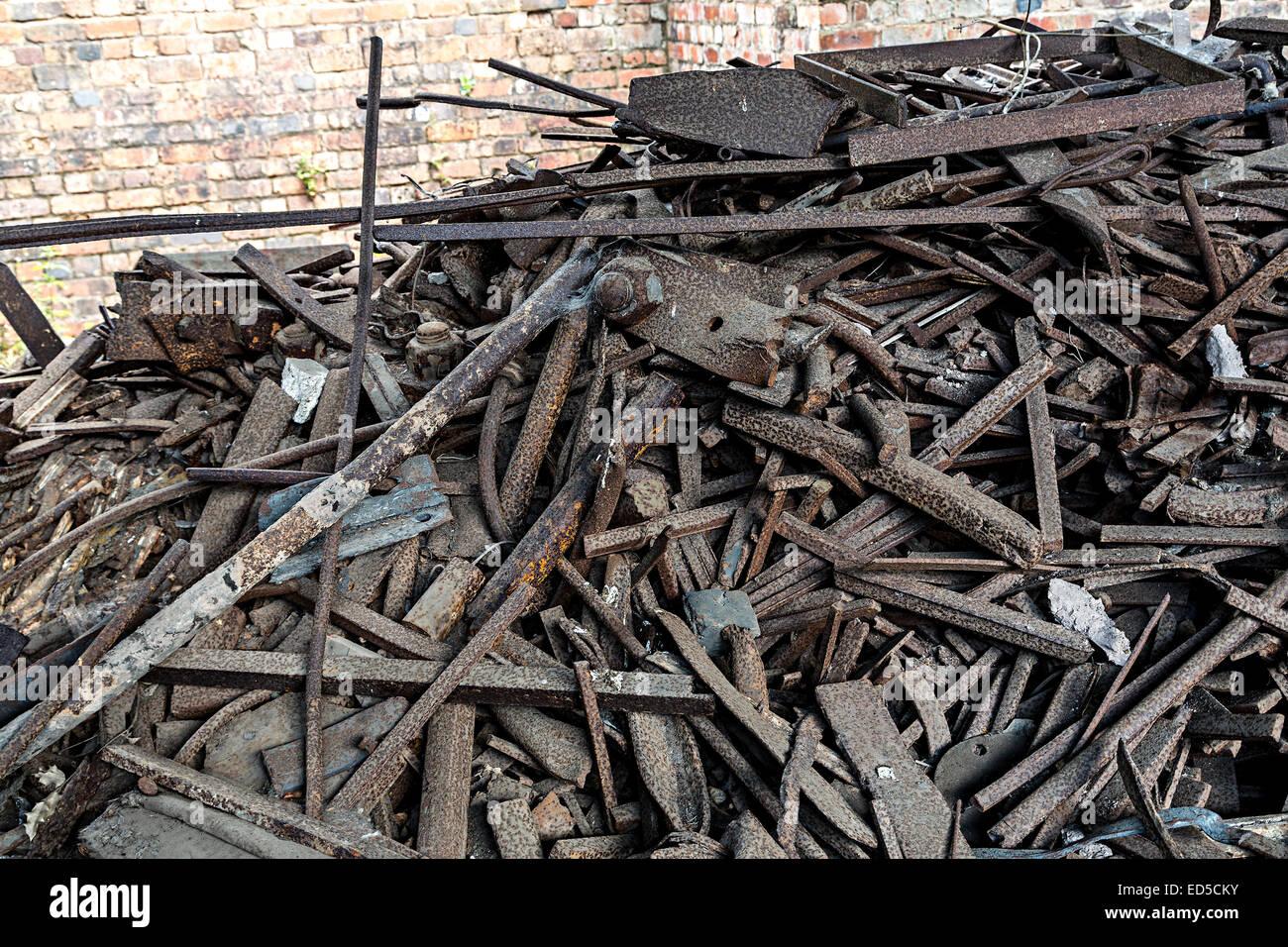 Heap of rusting scrap metal, England, UK - Stock Image