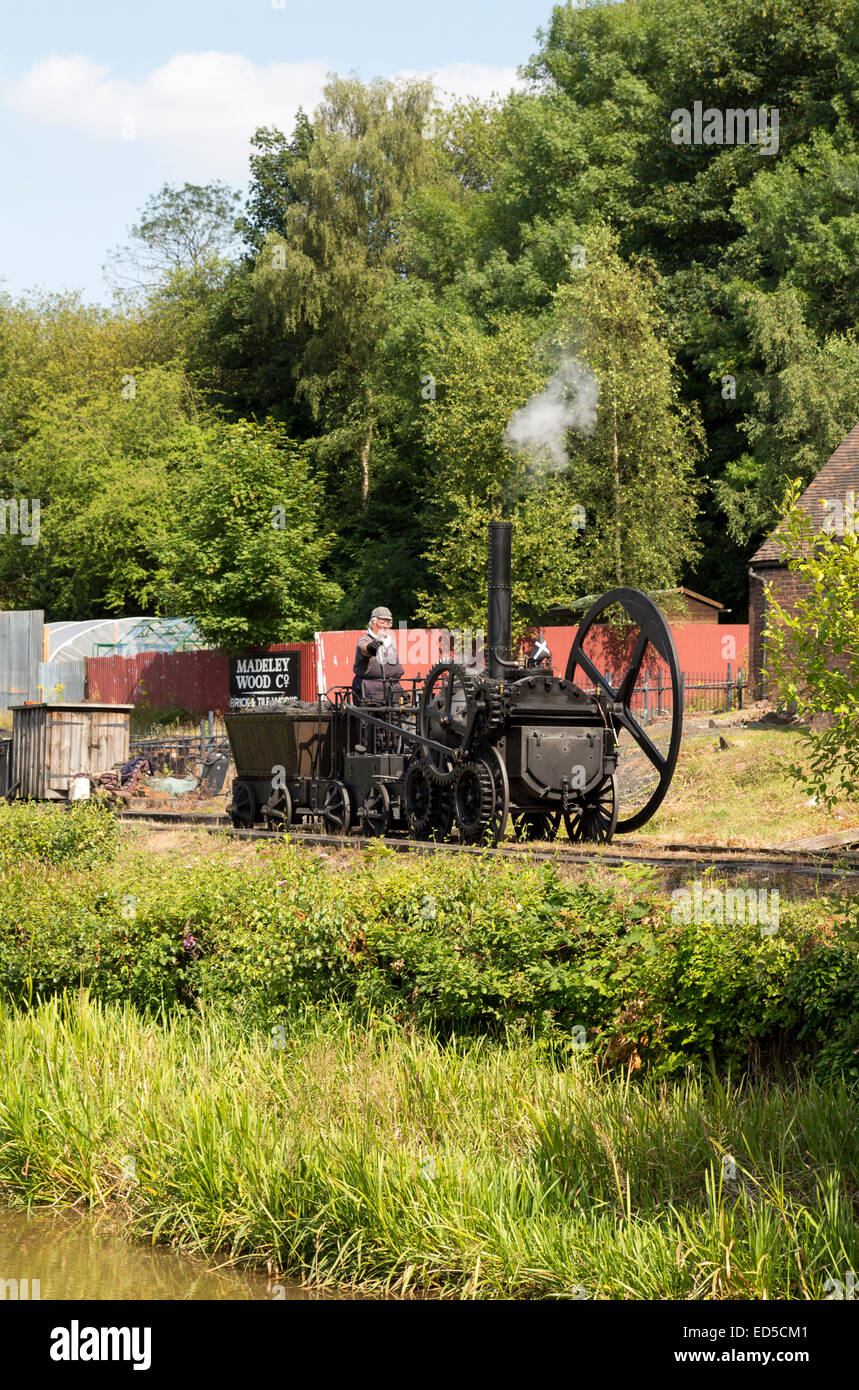 Replica of first working locomotive built by Richard Trevithick, Blists Hill Victorian town, Ironbridge, Shropshire, - Stock Image