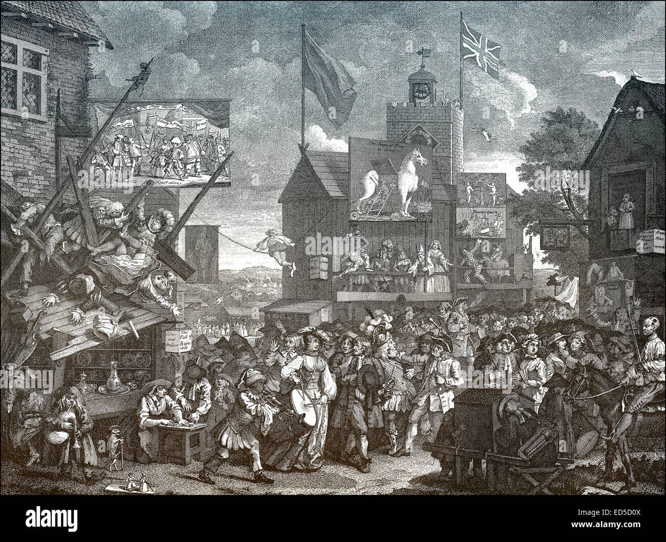 Southwark fair, London, by William Hogarth, 1697 - 1764, an English painter, printmaker, pictorial satirist, social - Stock Image