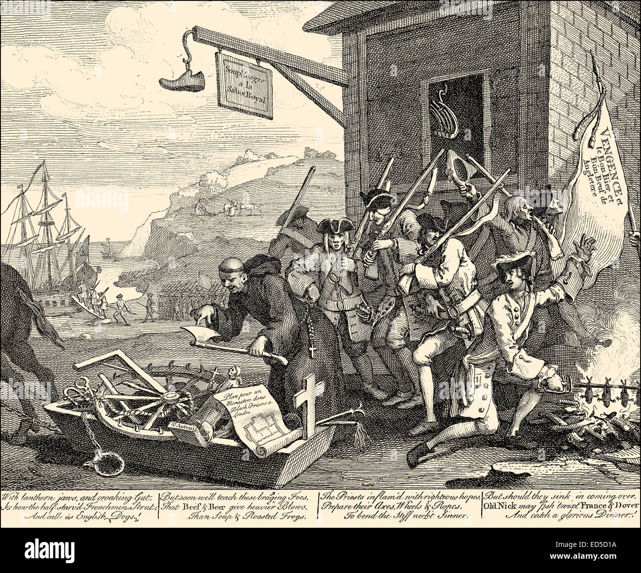 The Invasion, a satire about France, by William Hogarth, 1697 - 1764, an English painter, printmaker, pictorial - Stock Image