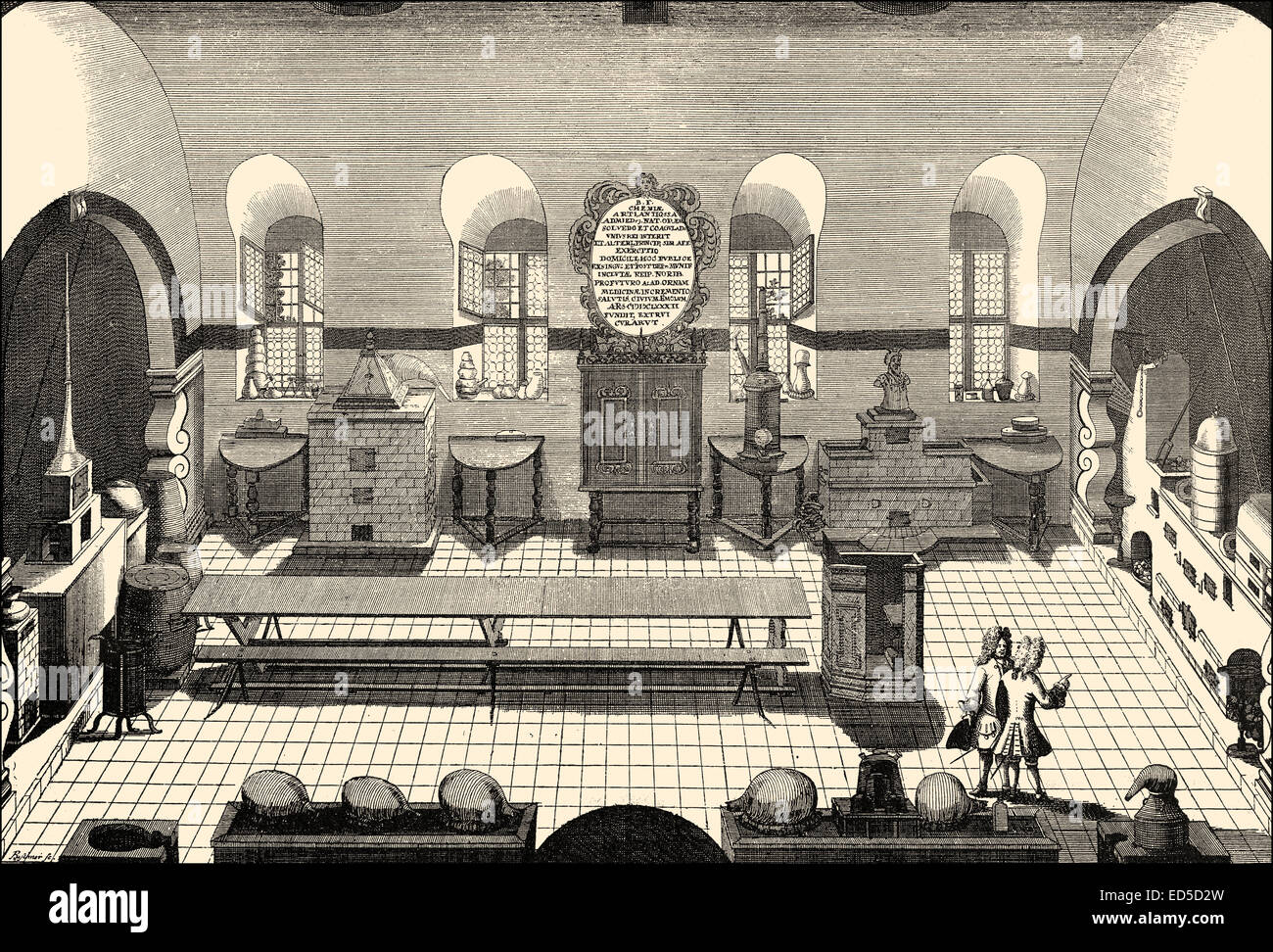 Chemical laboratory, 17th Century, University Altdorf, Bavaria, Germany, chemisches Labor der Universität Altdorf, Stock Photo